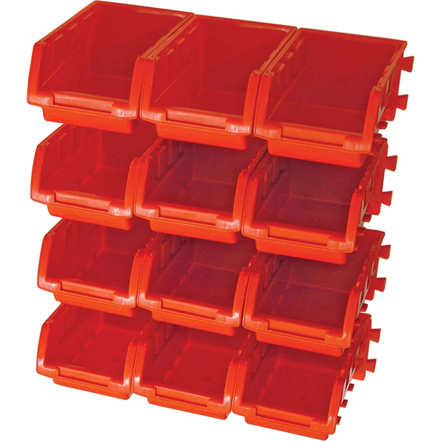 Image of Faithfull 12 Piece Plastic Storage Bin Set with Wall Mounting Rails