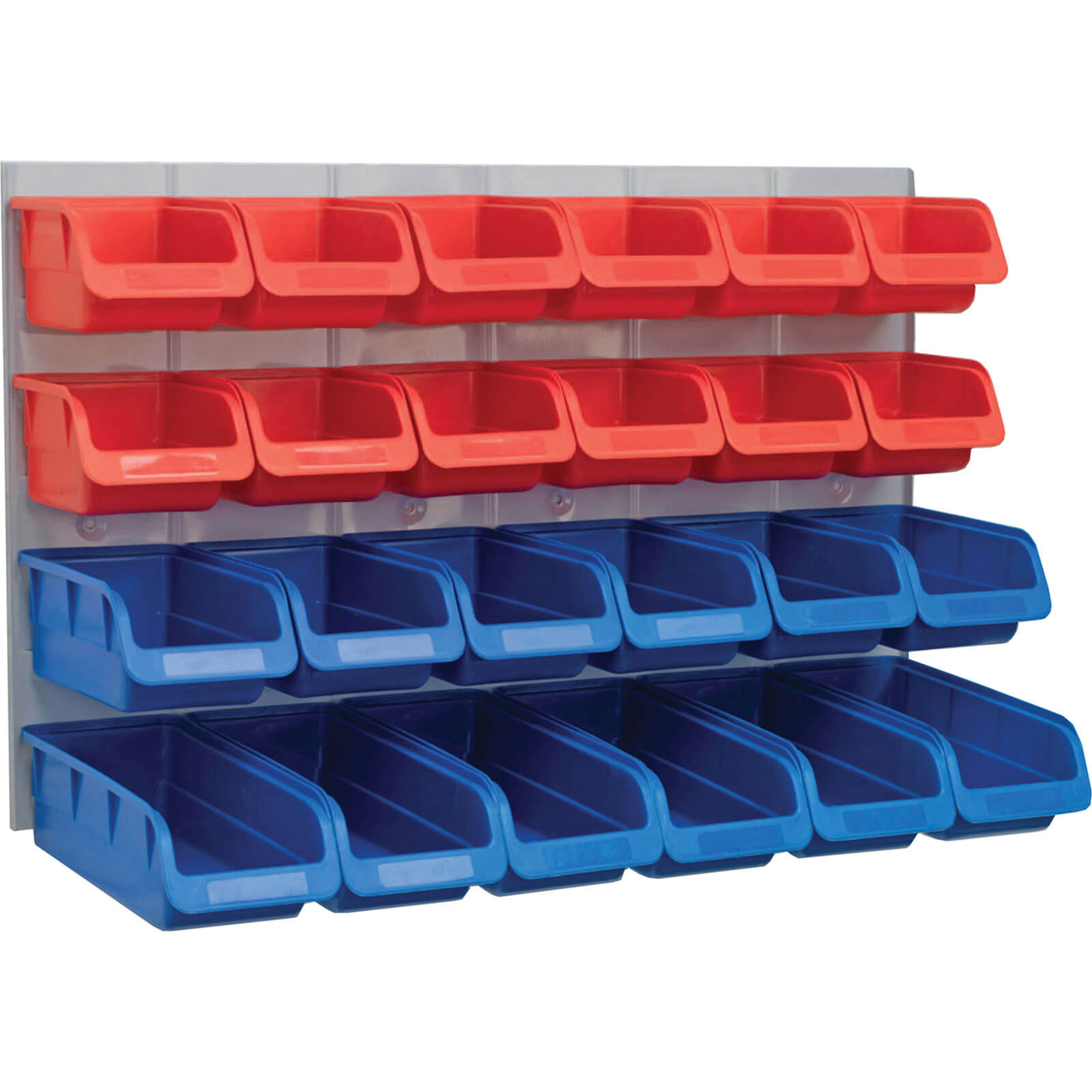 Faithfull 24 Piece Plastic Storage Bin Set with Metal Wall Panel