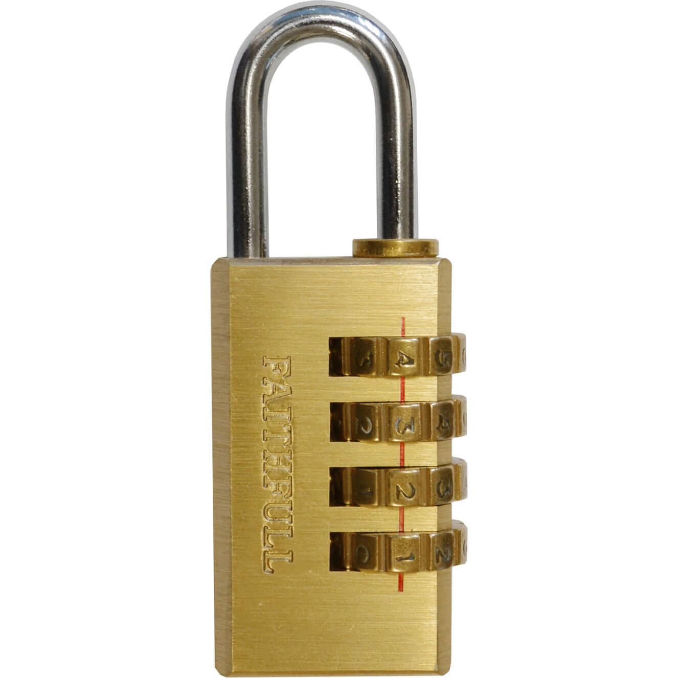 Tooled Up/Ironmongery & Security/Security/Faithfull 20mm 4 Digit Brass Combination Padlock