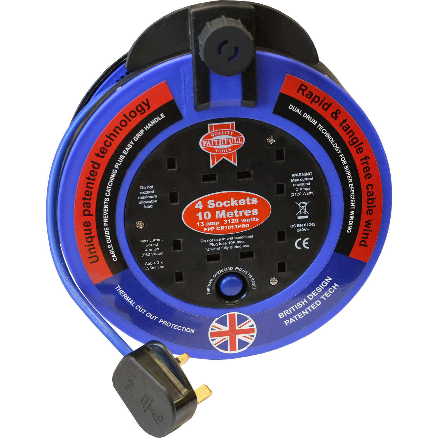 Faithfull Power Plus Fast Rewind 4 Socket Cable Reel 10m 13amp 240v