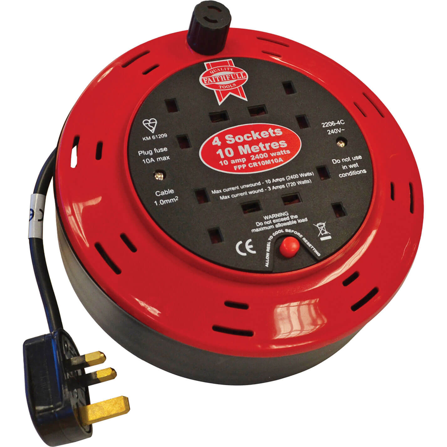 Faithfull 4 Socket Cable Reel 10m 10amp 240v