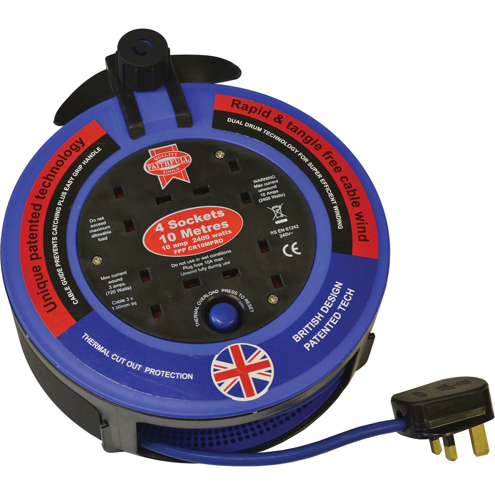Faithfull Power Plus 4 Socket Cable Reel 10m 10amp 240v