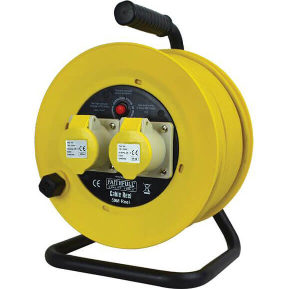 Faithfull 2 Socket 50m Open Frame Cable Reel 16amp 110v