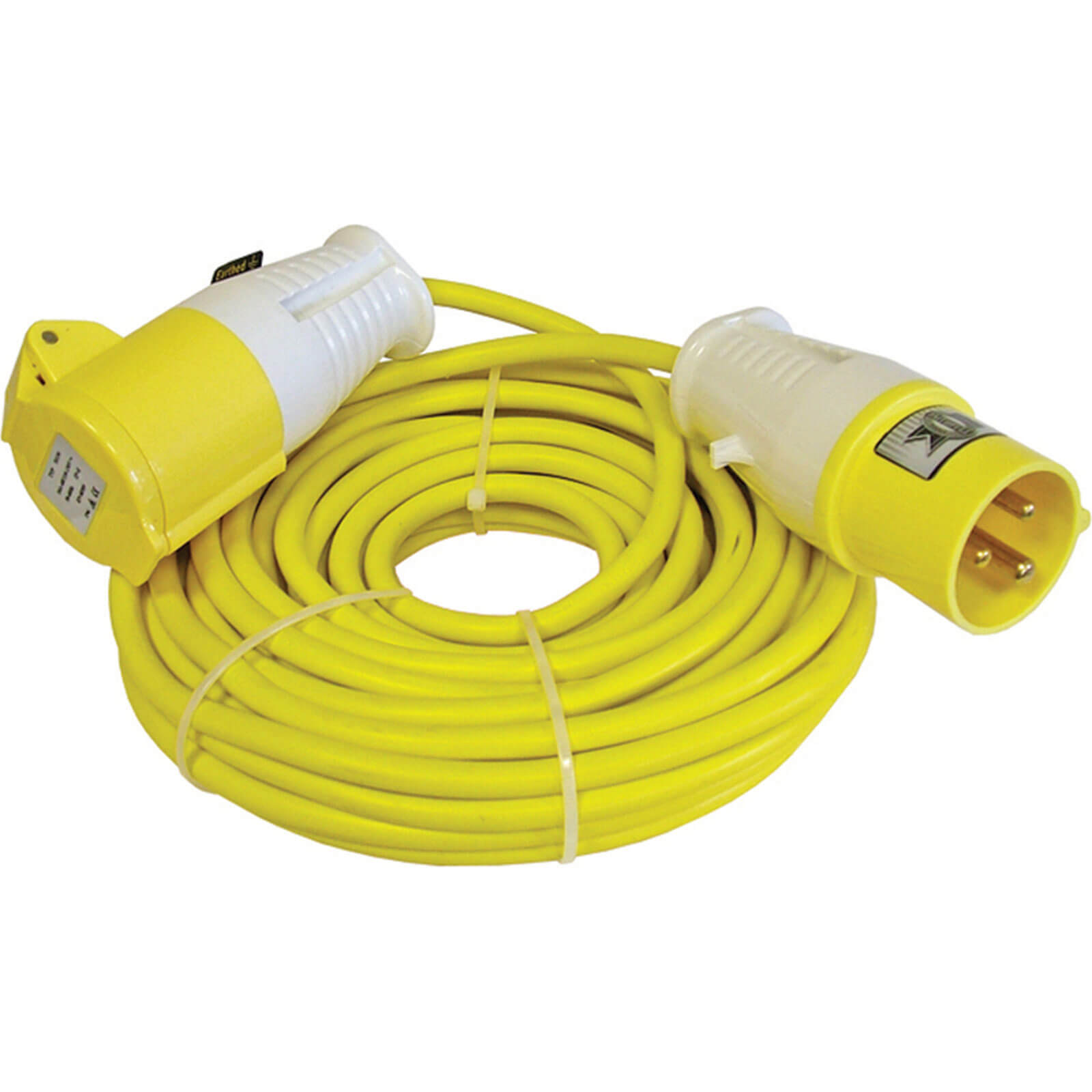 Extension Trailing Lead 14m 16amp 110v Yellow 2.5mm Cable