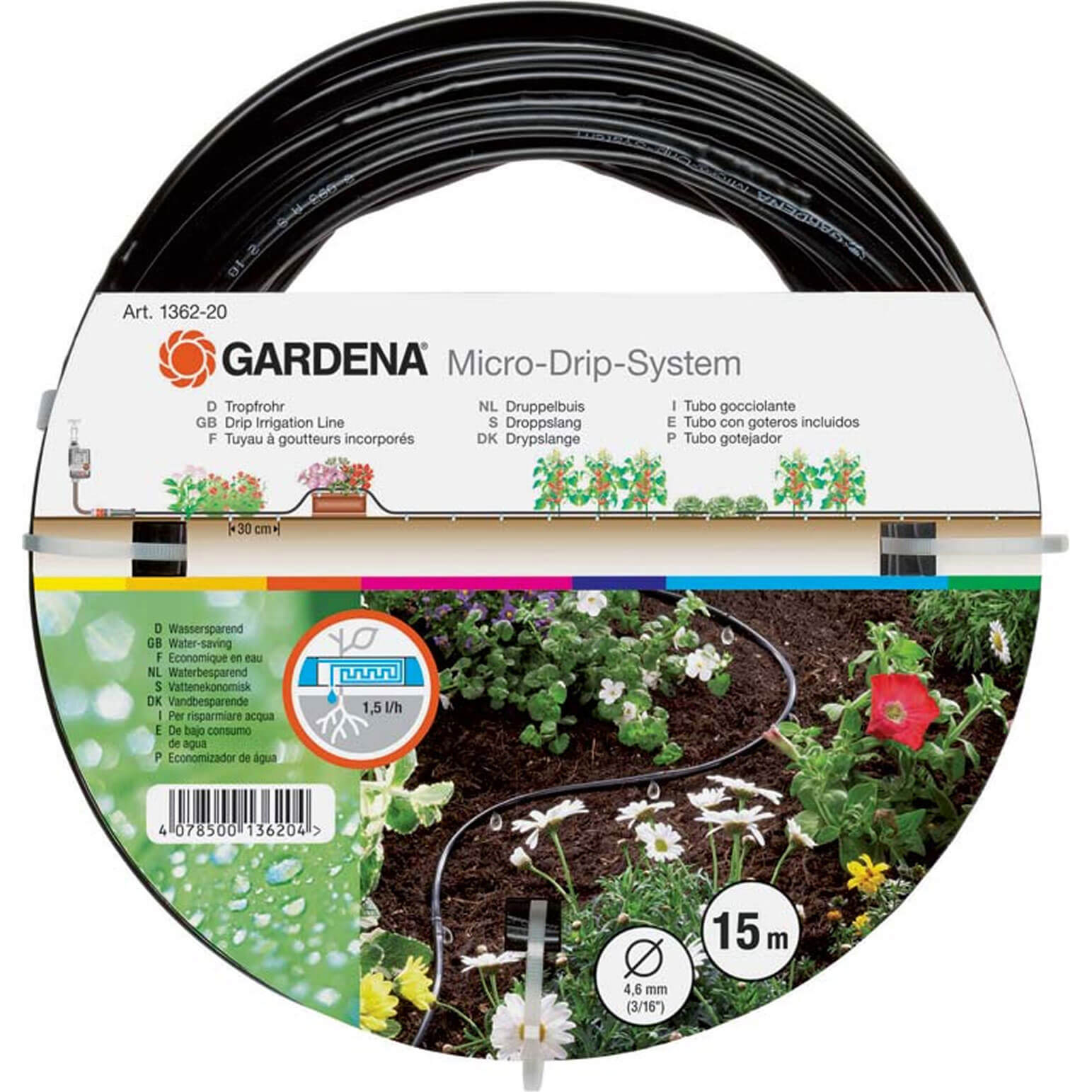 Gardena 15 Metre Above Ground Drip Irrigation Pipe 4.6mm (3/16&quot) (Micro Drip System)