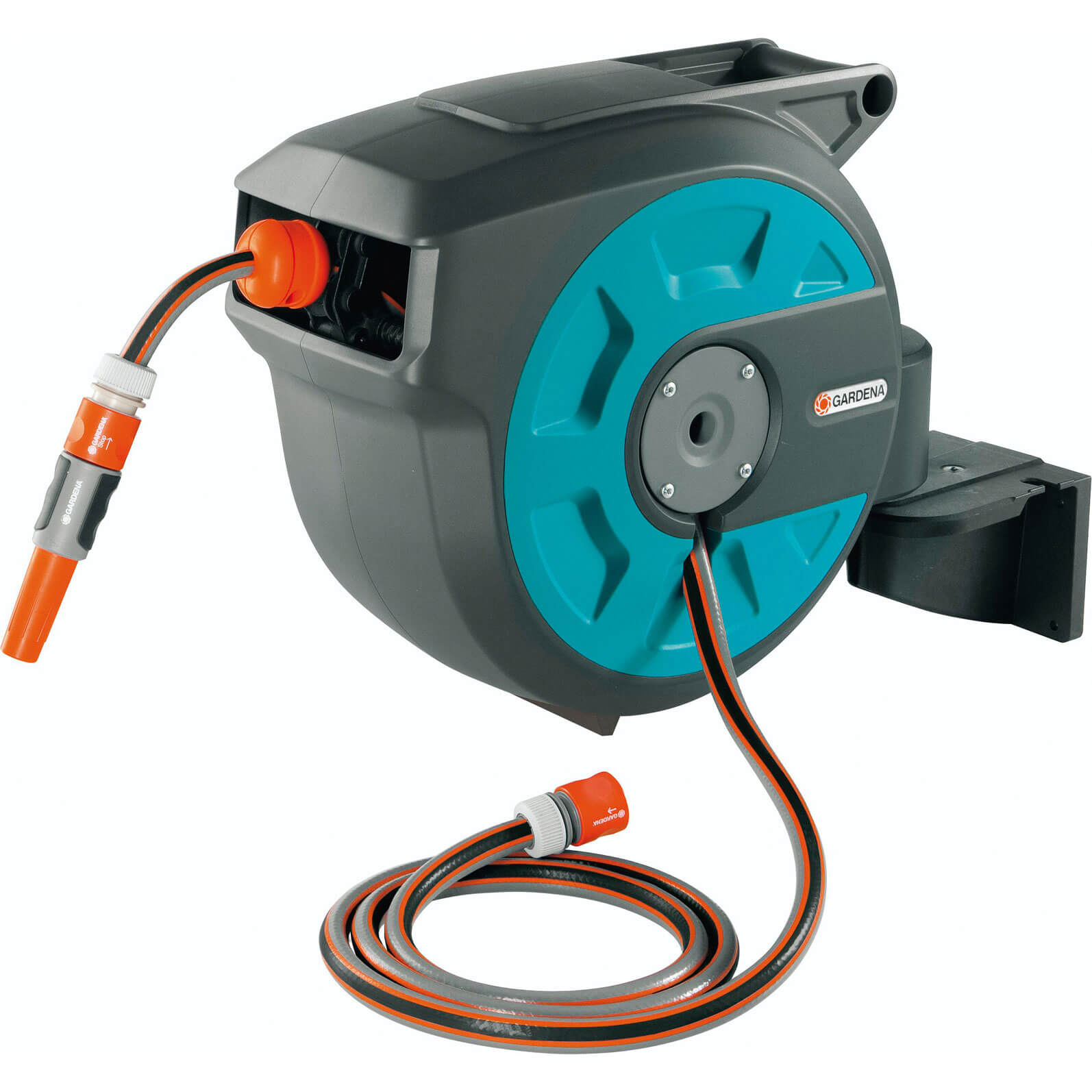 Gardena 15 Metre Wall Mounted Auto Hose Reel with 15 Metre Hose Pipe 12.5mm (1/2&quot)