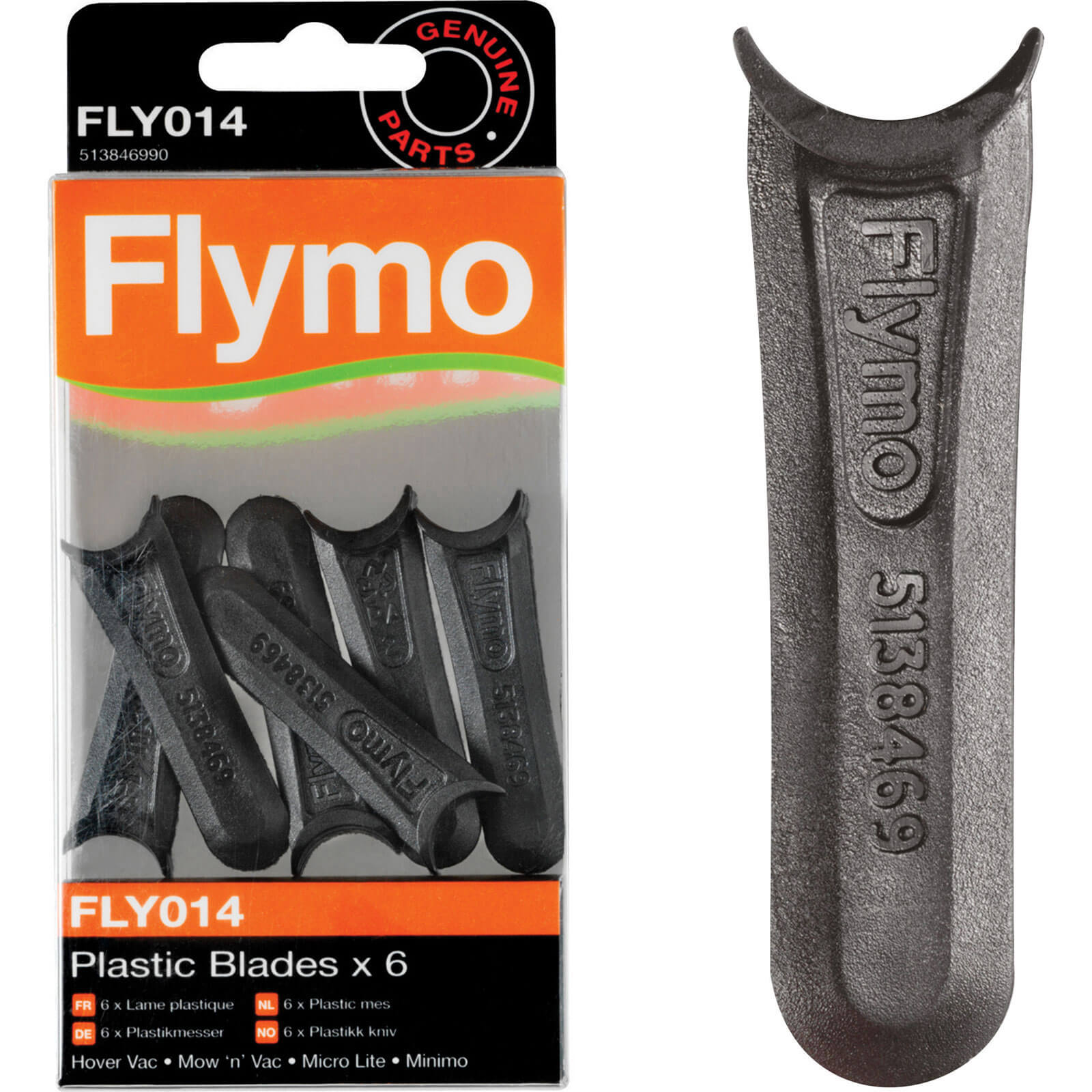Flymo FLY014 Replacement Plastic Blades for Microlite, Minimo, Hover Vac & Mow n Vac Lawnmowers Pack of 6