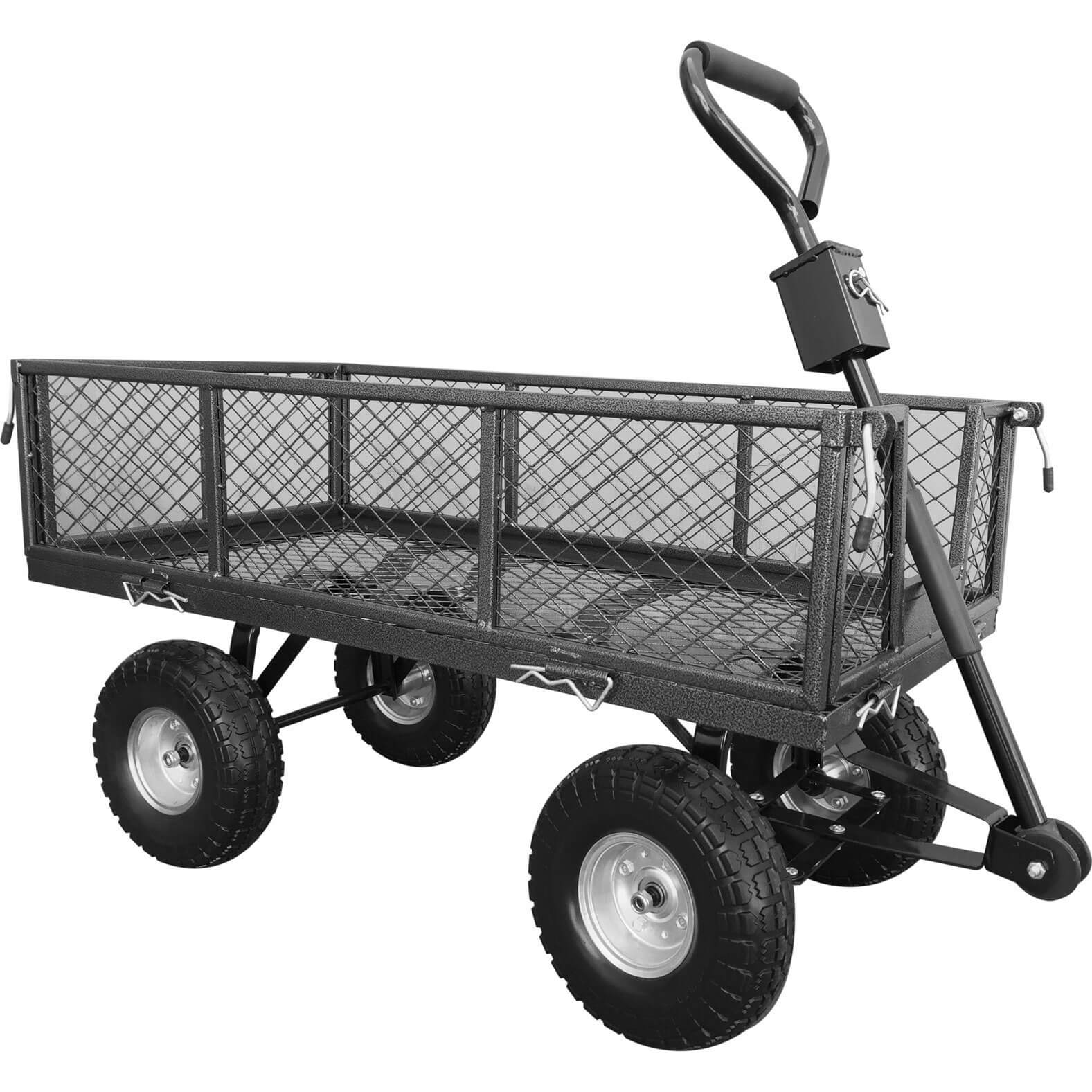 Handy Small Steel Garden Trolley with Punctureless Wheels 200kg Capacity