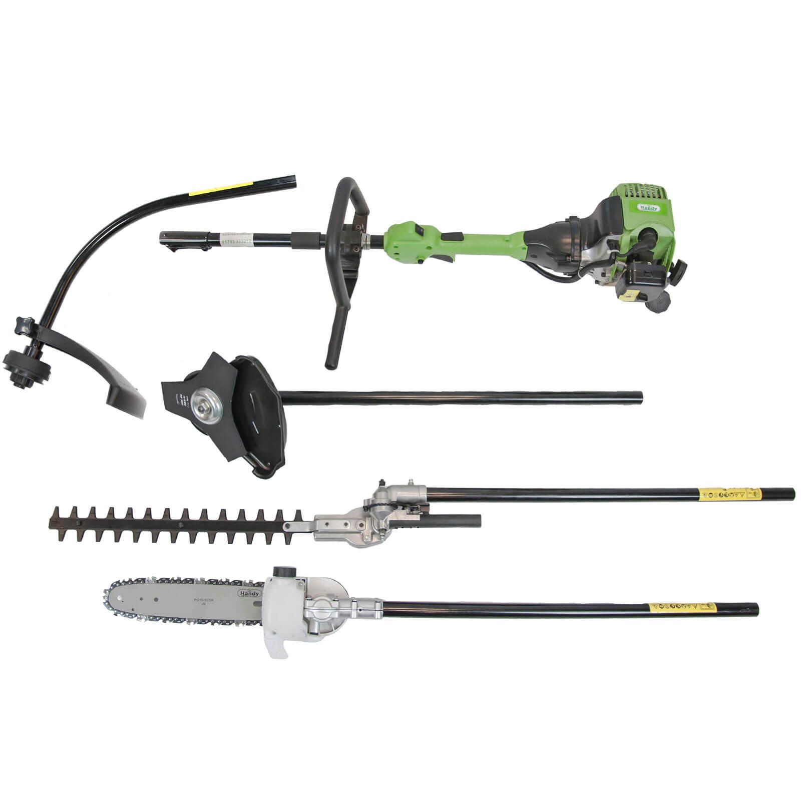 Handy THMC-A Petrol Multi Cutter Grass Trimmer 380mm Cut Width 26cc 2 Stroke Engine & Brush Cutter, Hedge Cutter & Pruner Attachments