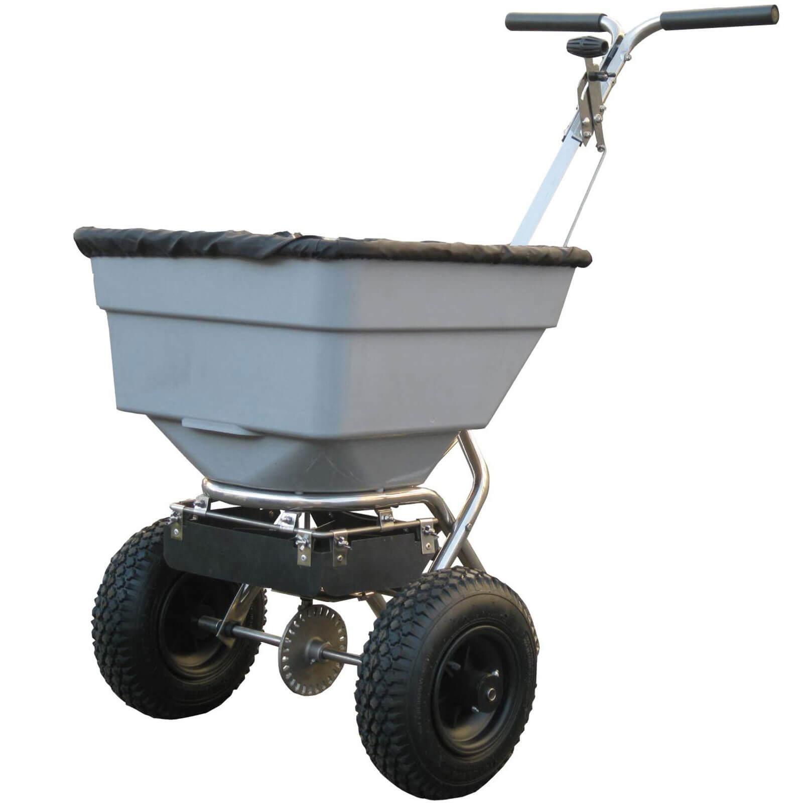 Handy Stainless Steel Push Grass, Feed & Salt Broadcast Spreader 3 Metre Spread Width 45kg Capacity