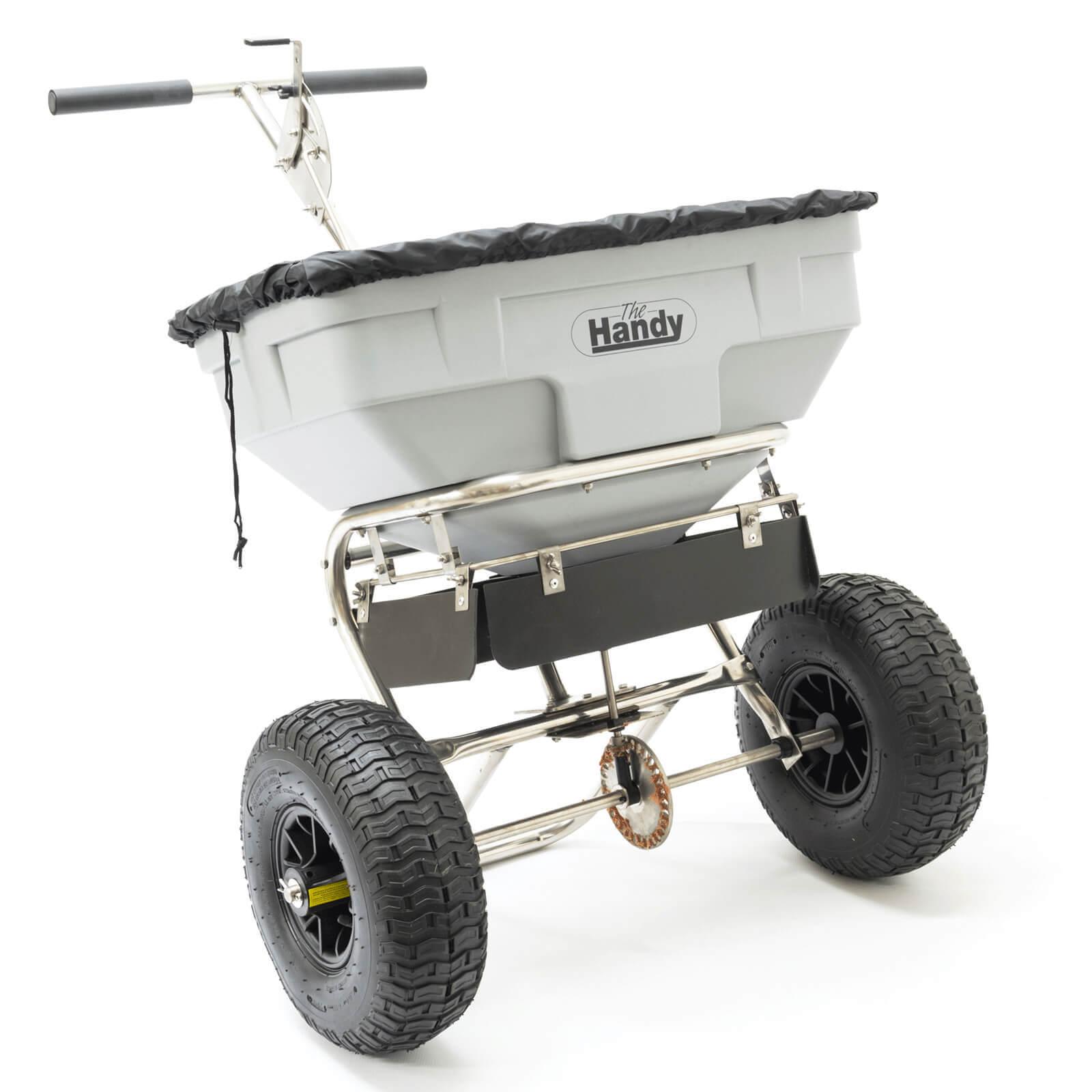 Handy Stainless Steel Push Grass, Feed & Salt Broadcast Spreader 3.66 Metre Spread Width 57kg Capacity