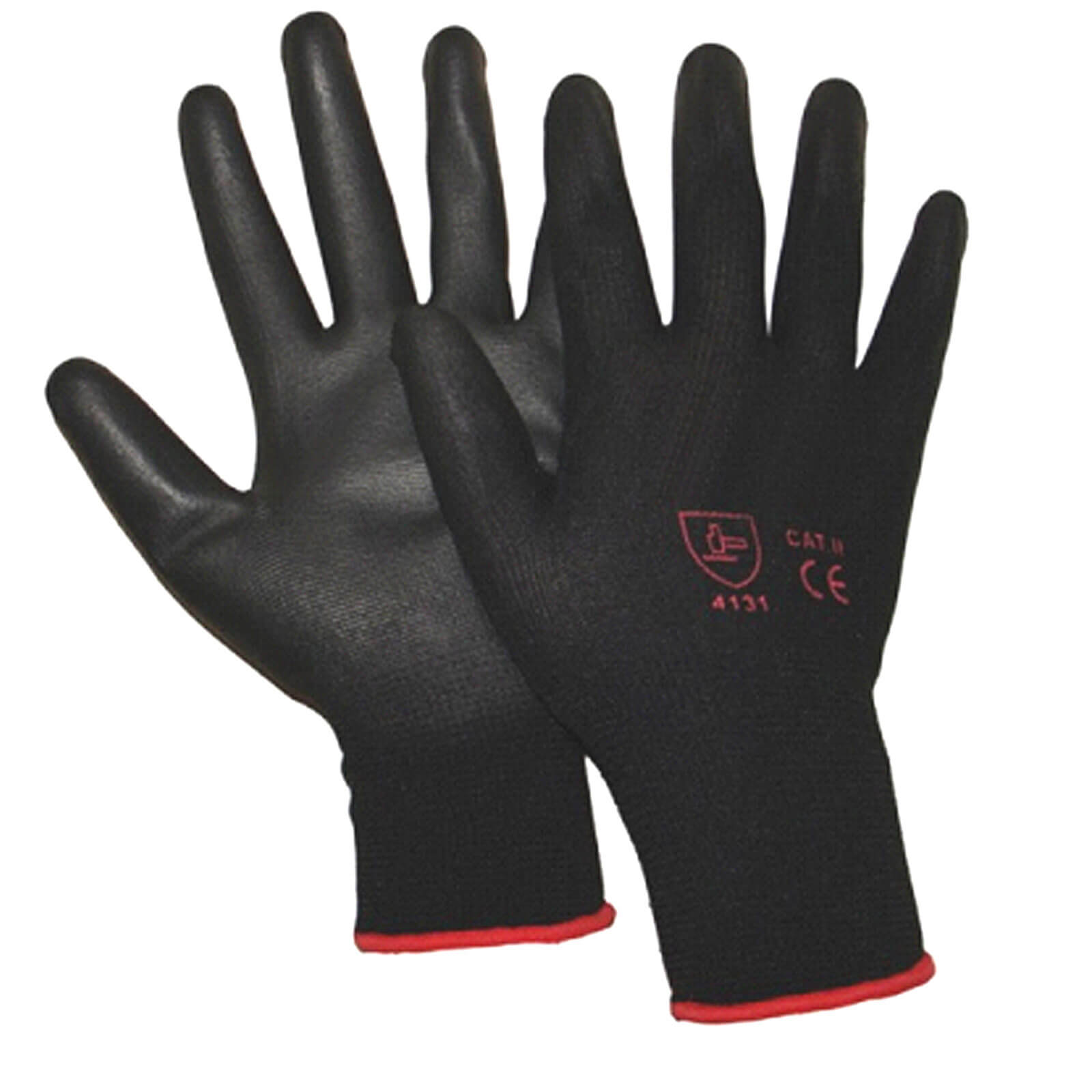Tooled Up/Safety & Workwear/PPE/Handy Black Polyurethane Coated Knitted Gloves Large