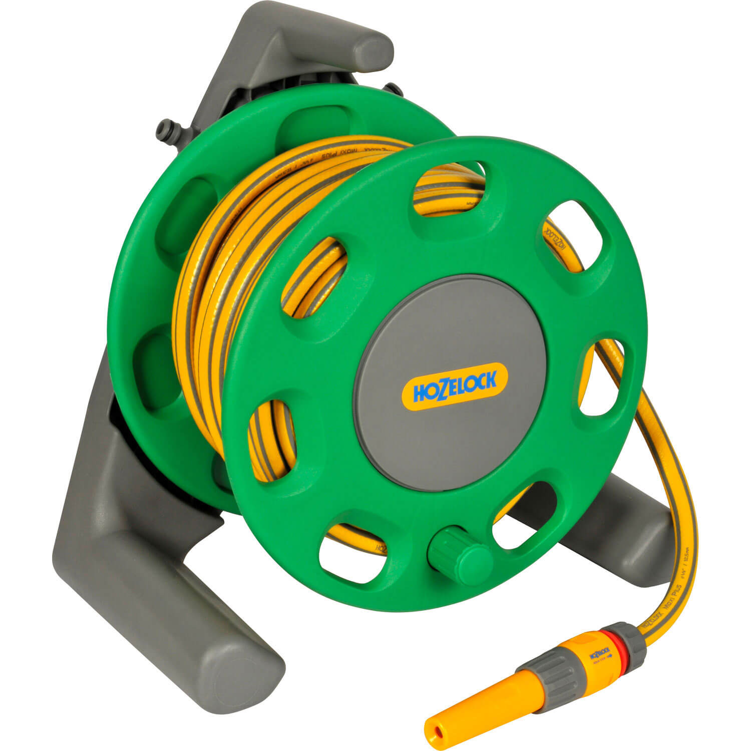 Hozelock 30 Metre Compact Floor Standing Hose Reel with 15 Metre Hose Pipe 12.5mm (1/2&quot) & Connectors