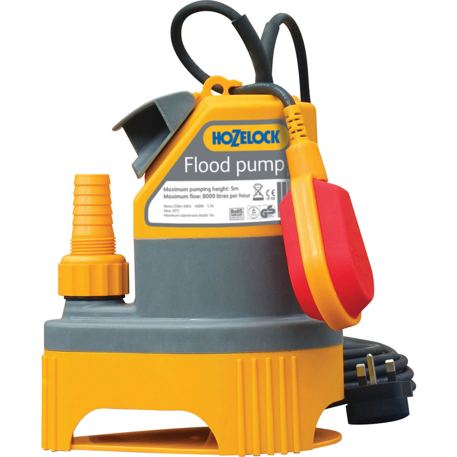 Hozelock 2 In 1 Submersible Flood & Dirty Water Pump with Float Switch 6 Metre Lift 6000 Litres Hour Max Flow 240v