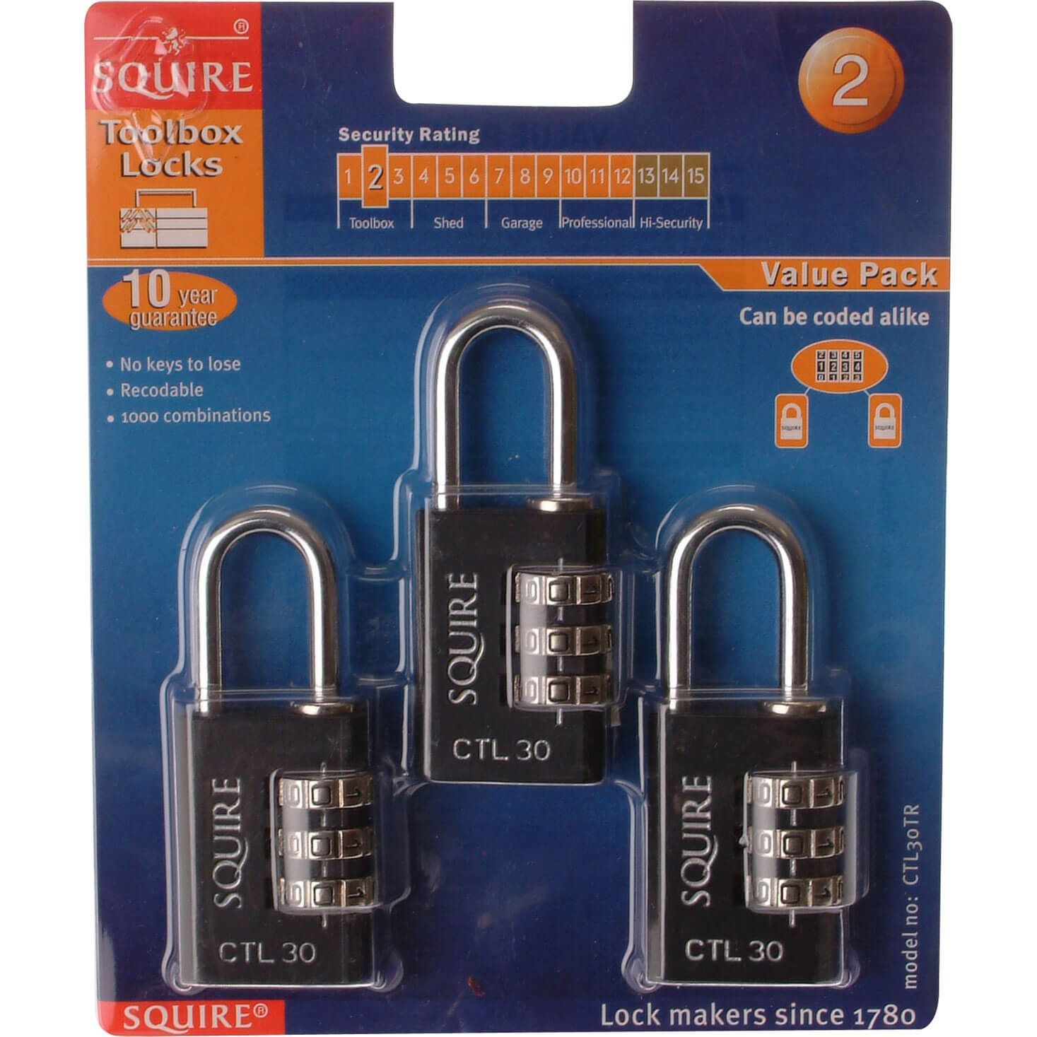 Henry Squire Combination Padlock Black 30mm Pack of 3