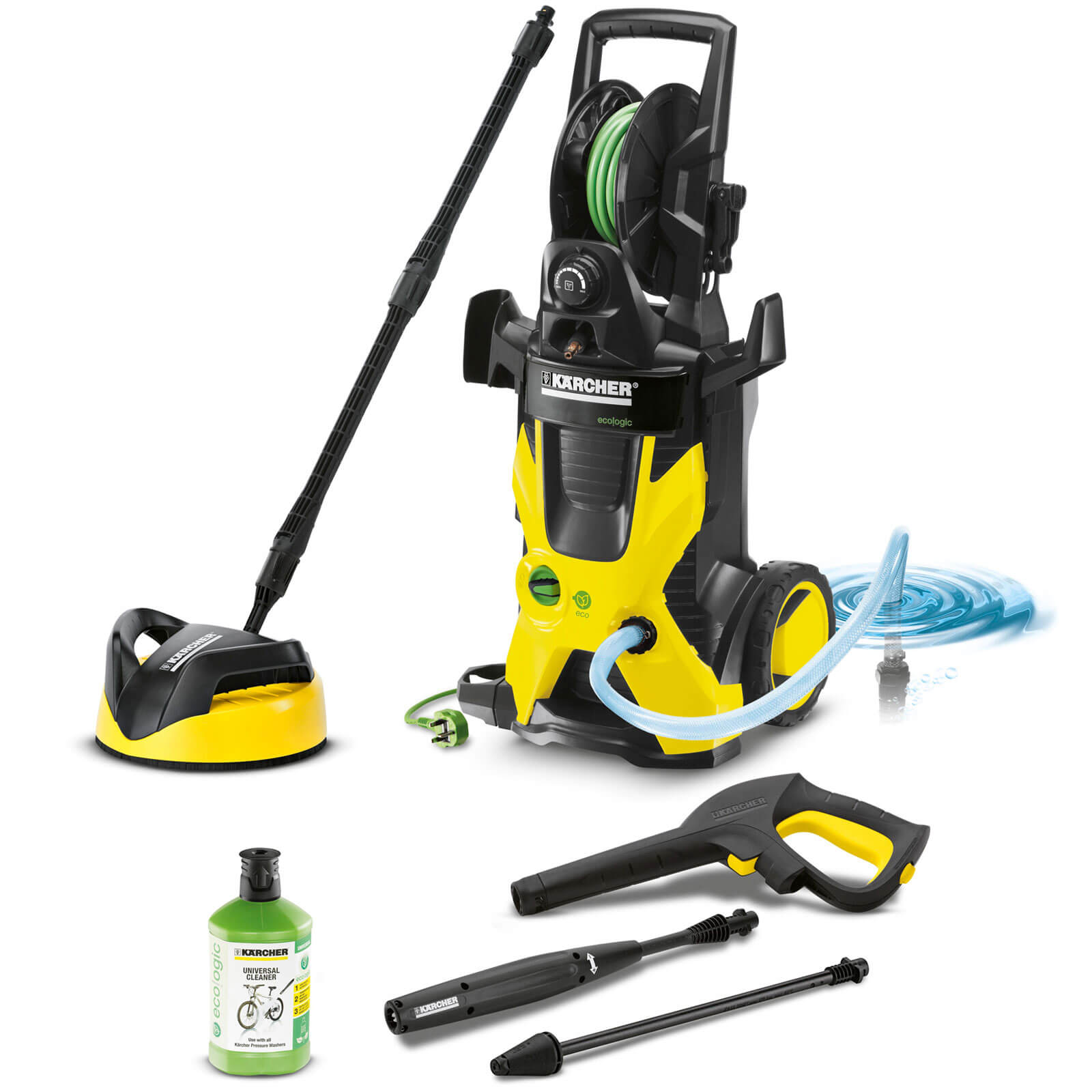 Karcher K5 Premium Home Eco Water Cooled Pressure Washer with Patio Cleaner & Hose Reel 20 - 145 Bar 2100w 240v