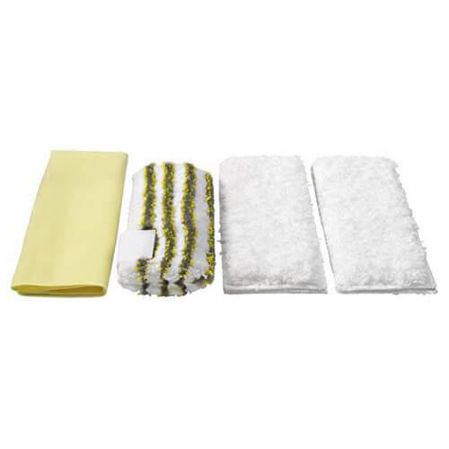 Karcher Pack of 4 Various Floor Tool Bathroom Microfibre Cloths for SC & DE 4002 Steam Cleaners