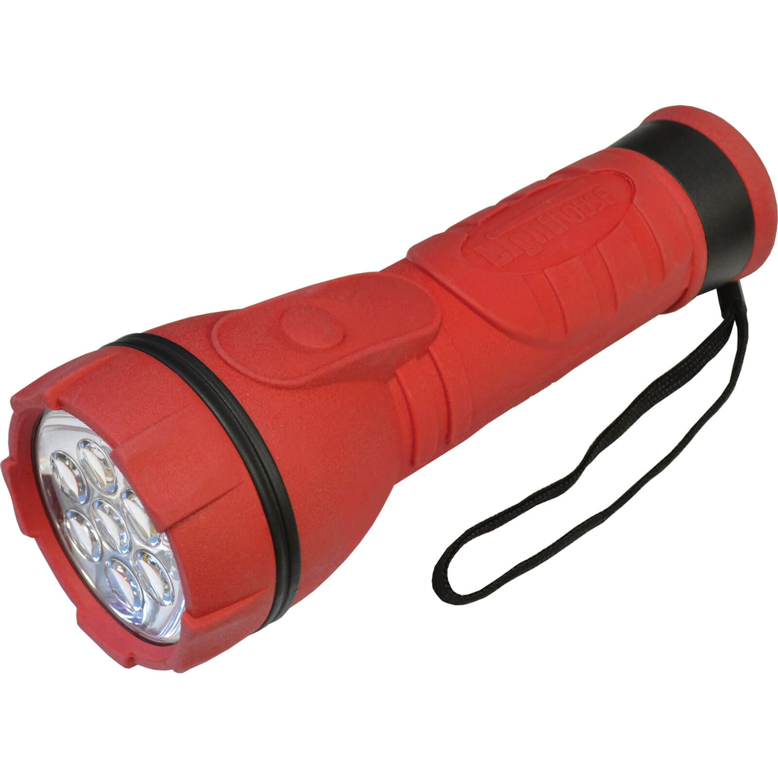 Image of Lighthouse 7 LED Rubber Torch Red