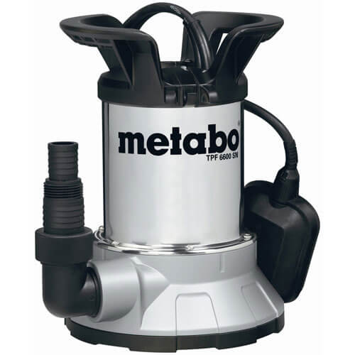 Metabo Tpf 6600sn Low Intake Stainless Steel Submersible Clean Water Pump With Float Switch 6 Metre Lift 6600 Litre Hour Max Flow 450w 240v