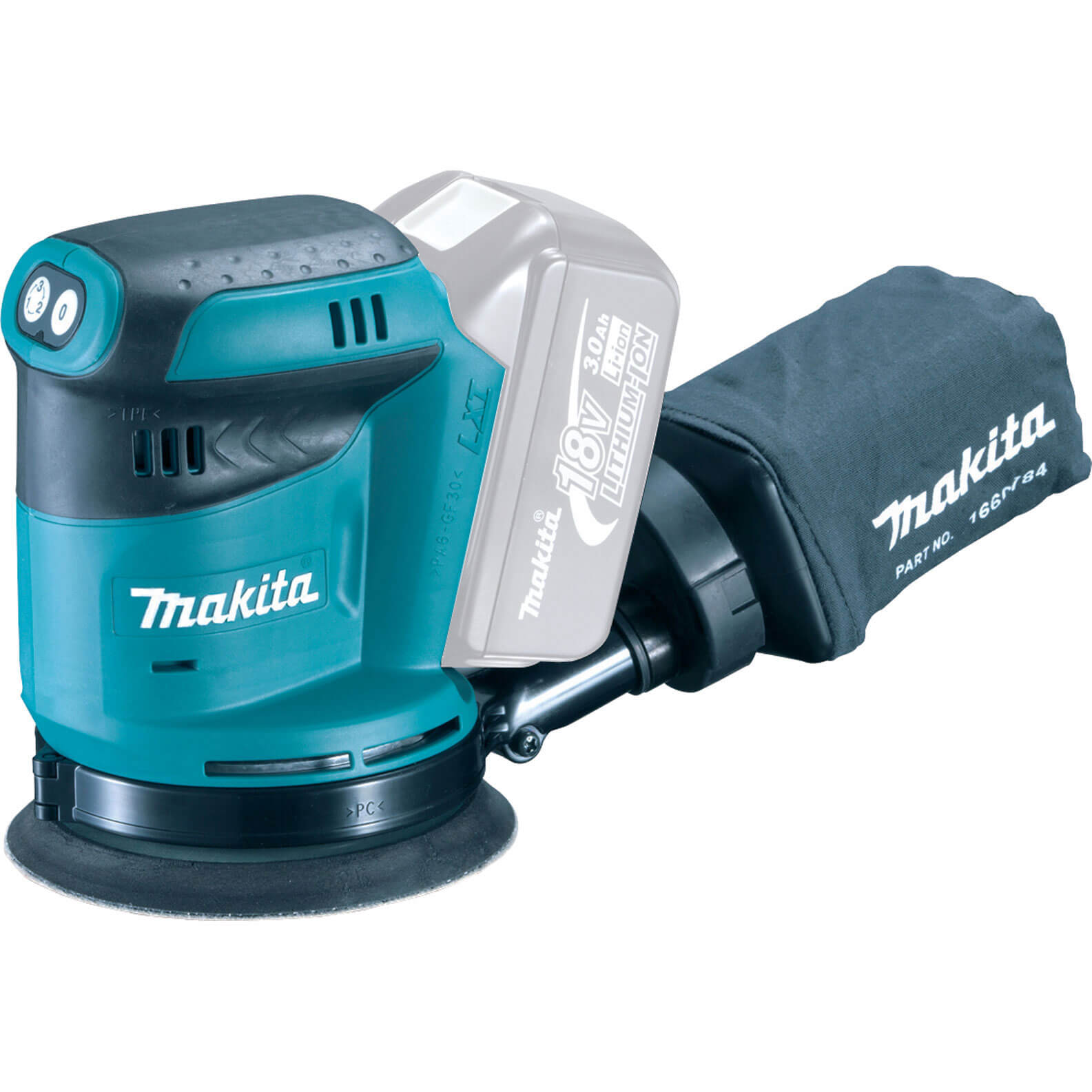 Image of Makita DBO180Z 18v Cordless Random Orbit Disc Sander 125mm Disc without Battery or Charger