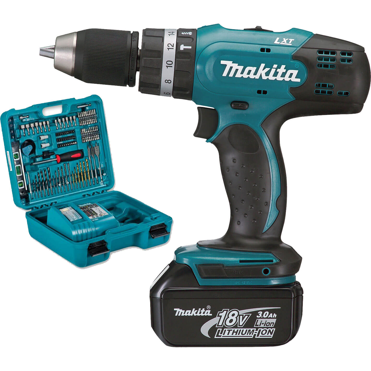 makita bhp453rfx 18v cordless combi drill with 1 lithium ion battery 3ah 101 piece accessory set. Black Bedroom Furniture Sets. Home Design Ideas