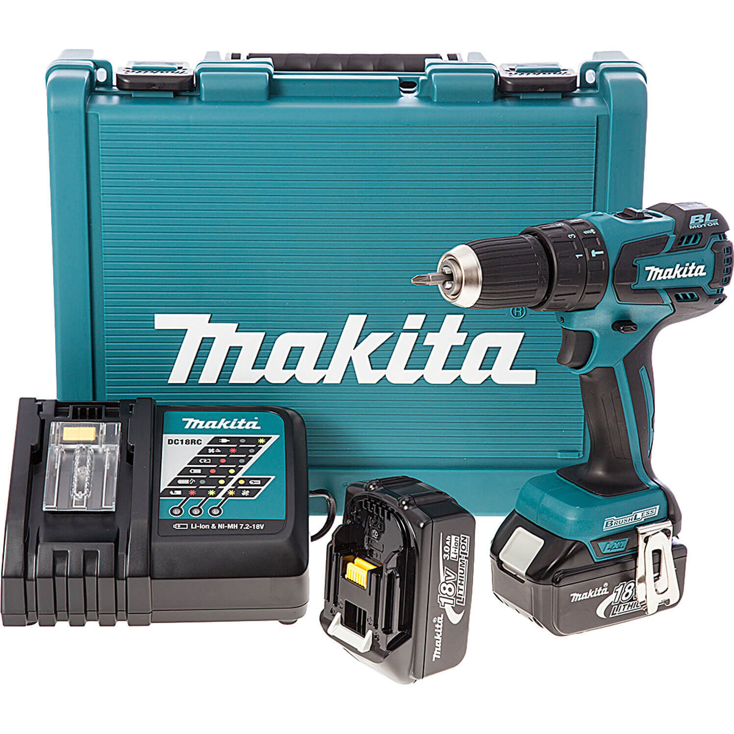 Image of Makita BHP459RFE 18v Cordless Brushless Combi Drill 2 Speed with 2 Lithium Ion Batteries 3ah