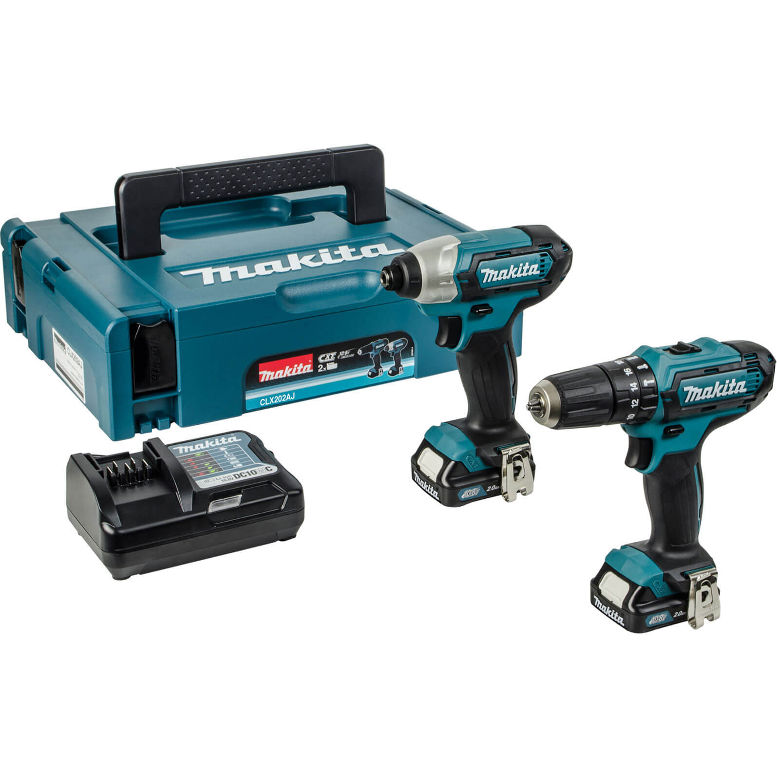 Image of Makita CLX202AJ 10.8v Cordless CXT Combi Drill & Impact Driver with 2 Lithium Ion Batteries 2ah