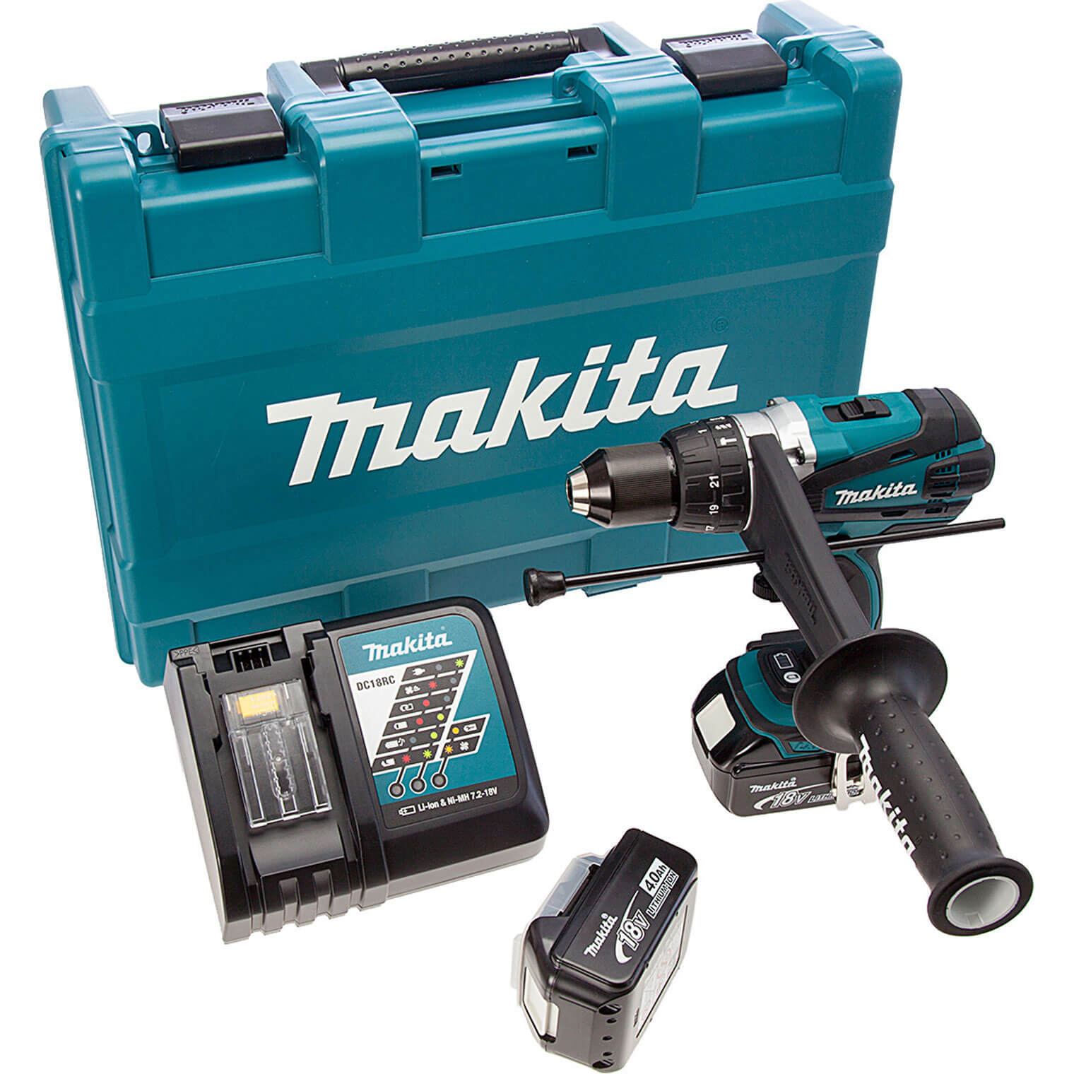 Image of Makita DHP458RME 18v Cordless XPT Combi Drill 2 Speed with 2 Lithium Ion Batteries 4ah