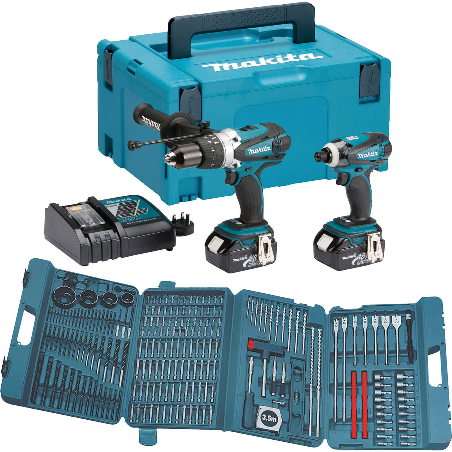 Image of Makita DLX2005MJ 18v Cordless Combi Drill & Impact Driver with 216 Piece Bit Set, 2 Lithium Ion Batteries 4ah