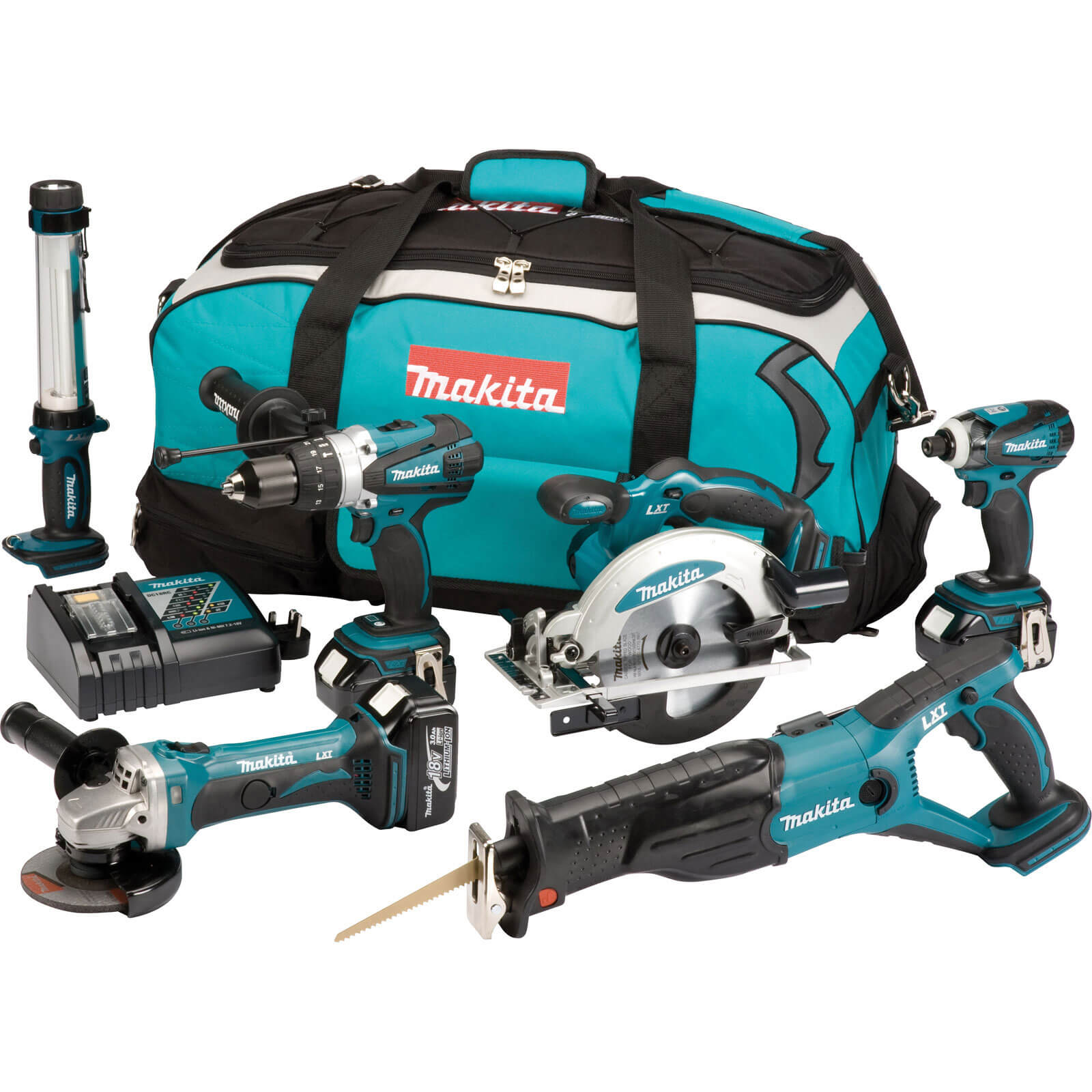 Image of Makita DLX6000PM 18v Cordless 6 Piece Power Tool Kit with 3 Lithium Ion Batteries 4ah