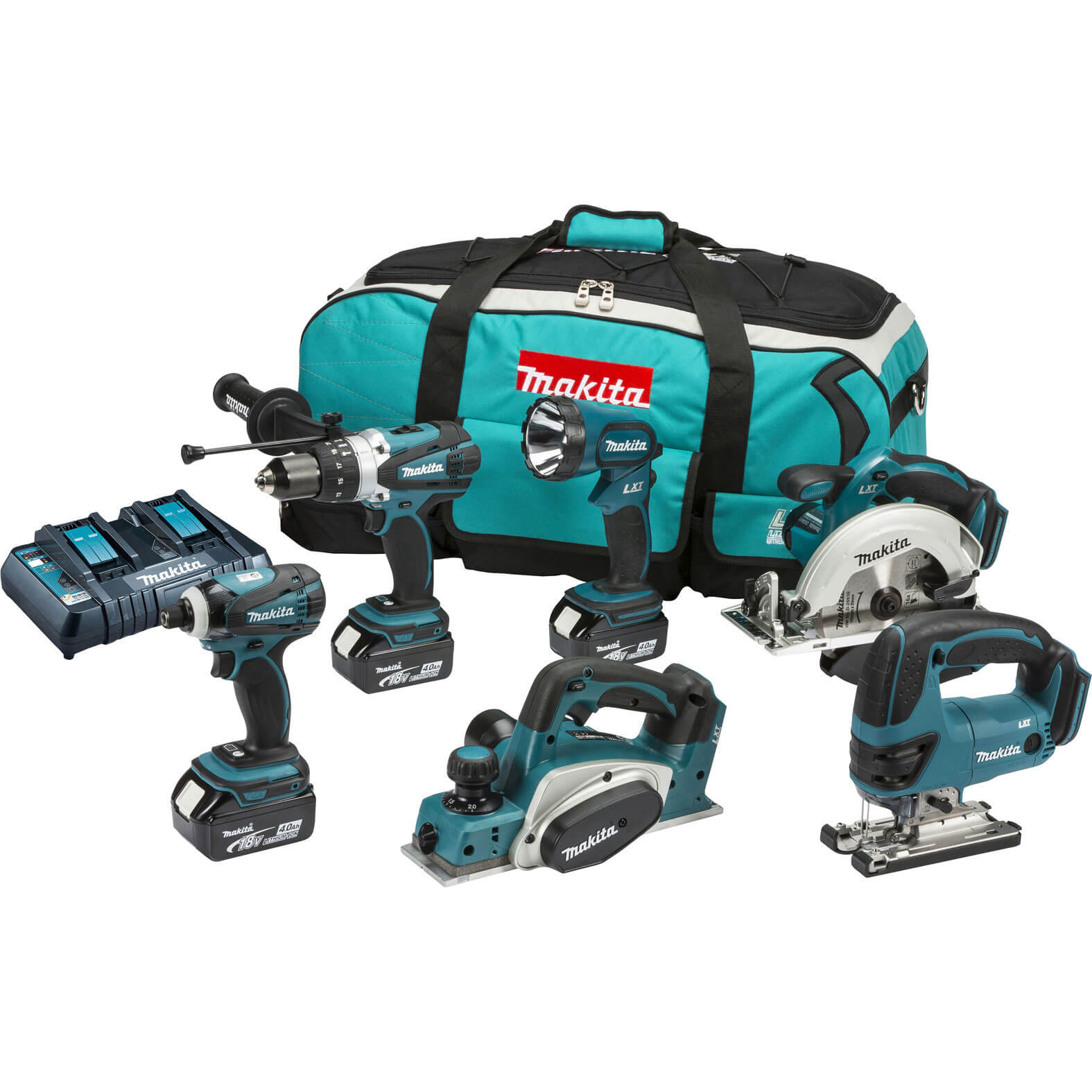 Image of Makita DLX6012PM 18v Cordless 6 Piece Power Tool Kit with 3 Lithium Ion Batteries 4ah