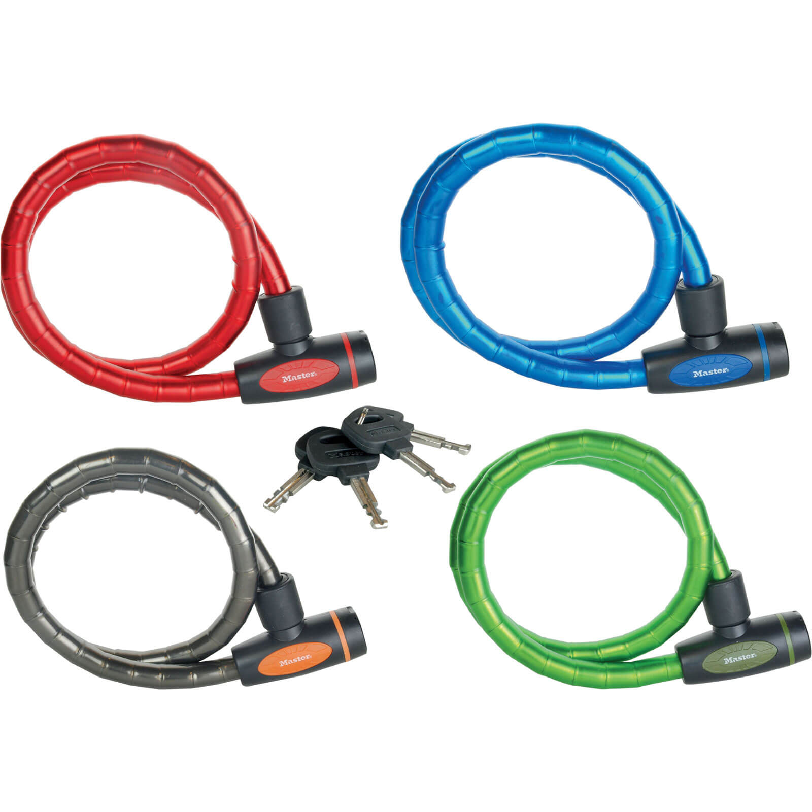 MasterLock 1m x 18mm Keyed Armoured Cable Locks Pack of 4 Assorted Colours