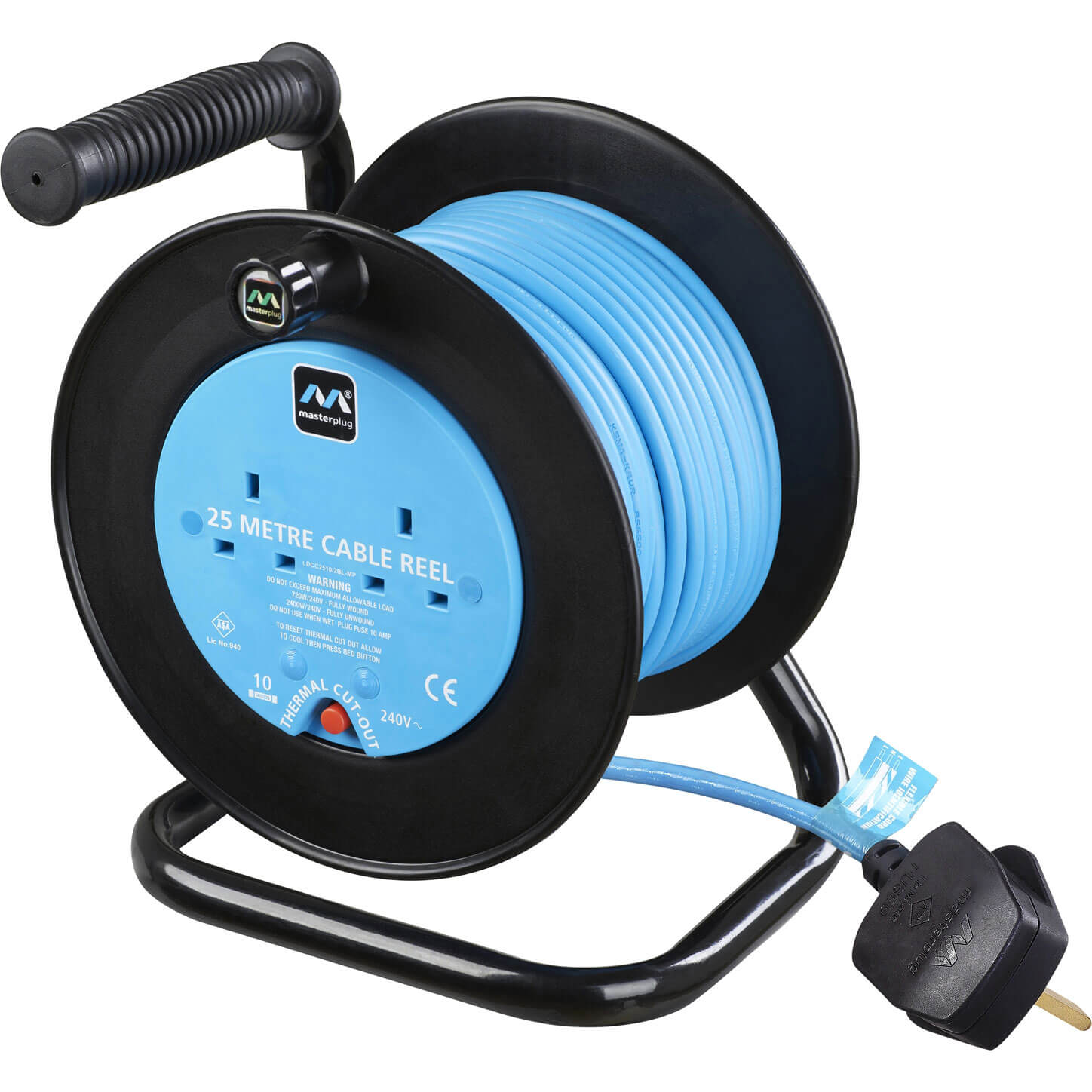 Masterplug 2 Socket 25m Cable Extension Reel 10amp 240v