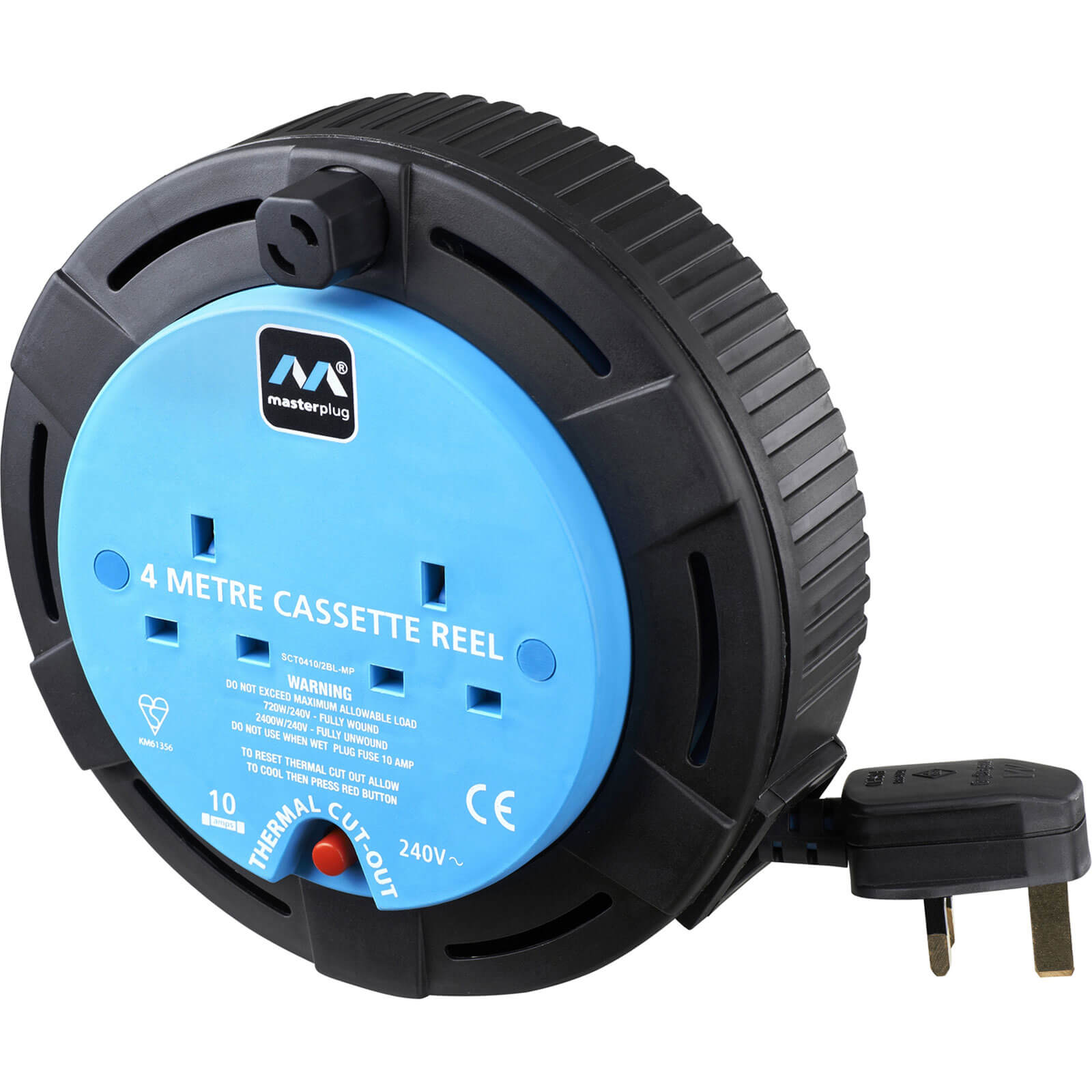 Masterplug 2 Socket 4m Cable Extension Reel 10amp 240v