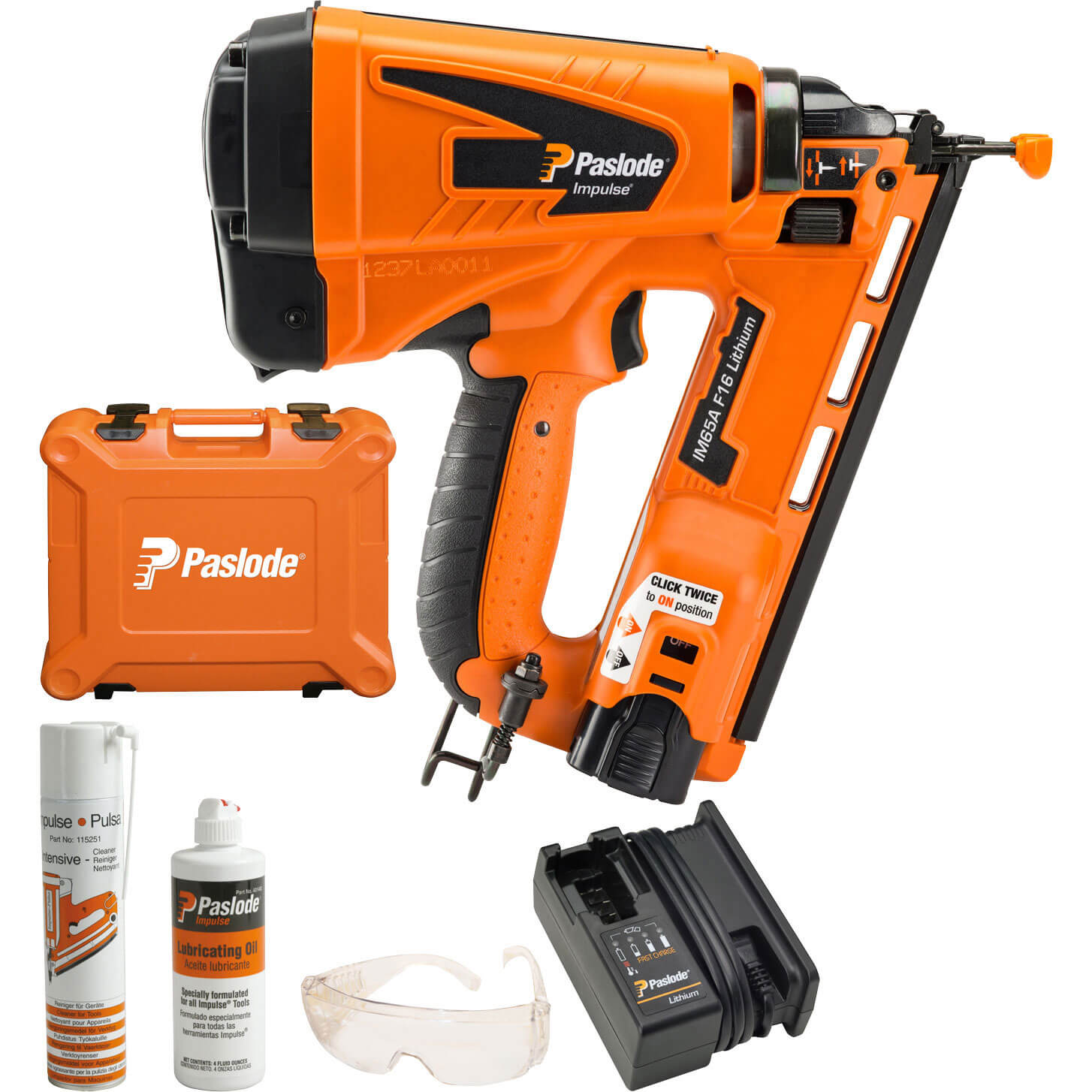 Paslode Impulse IM65A F16 Cordless Gas Angled Brad Nail Gun 32 - 64mm with 1 Lithium Battery 1.25ah
