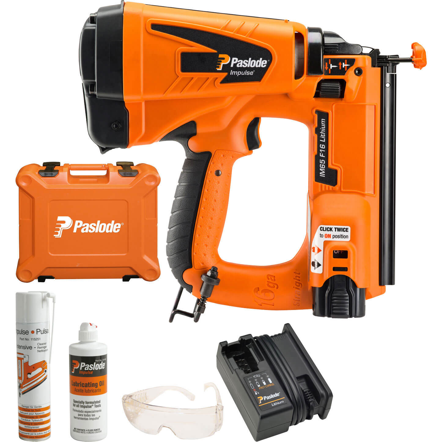 Paslode Impulse IM65 F16 Cordless Gas Brad Nail Gun 16 - 63mm with 1 Lithium Battery 1.25ah