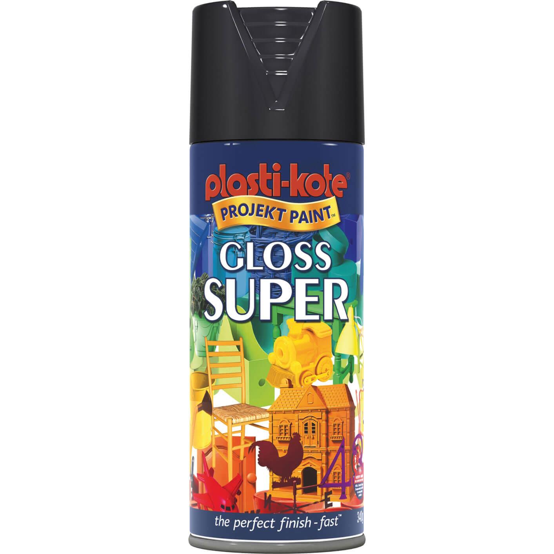 Plastikote 1100 Super Enamel Paint Gloss Black Aerosol 400ml