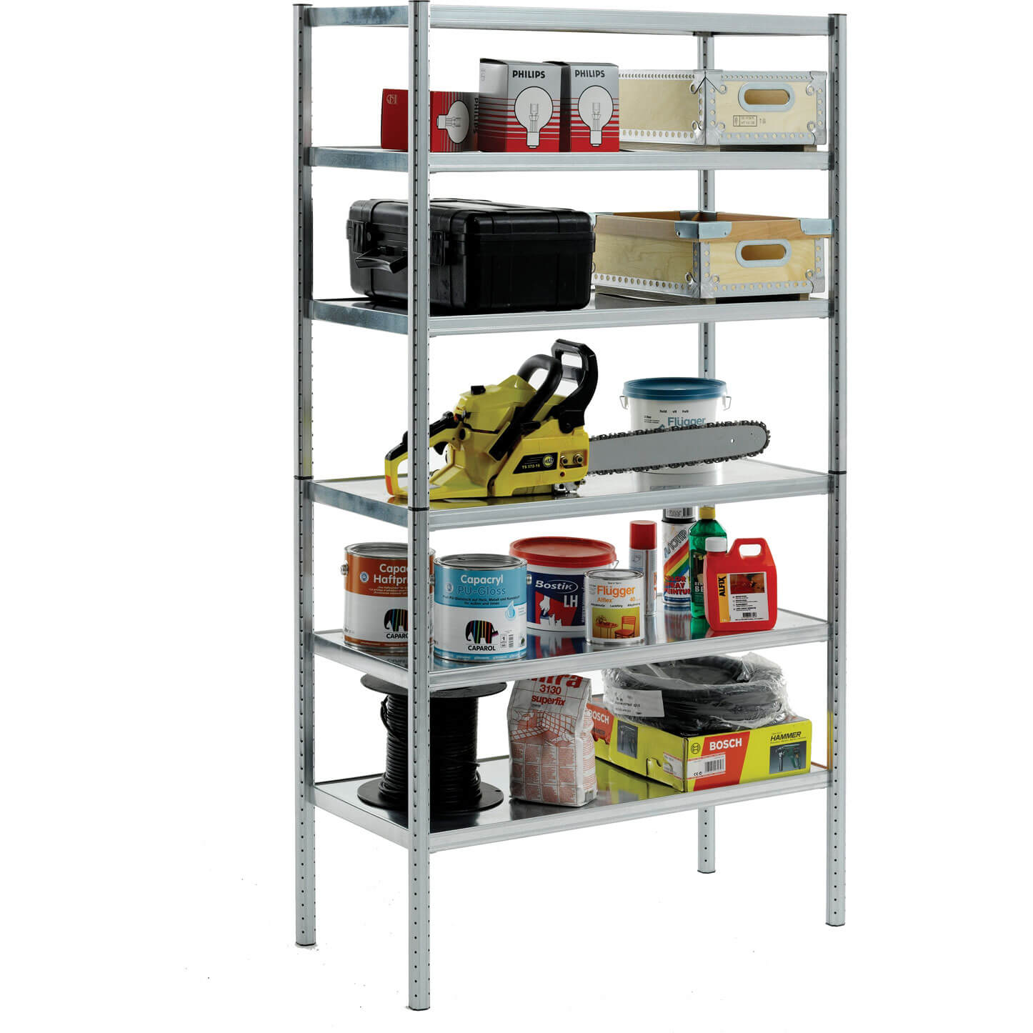 Raaco 6 Shelf Galvanised Steel Shelving Unit