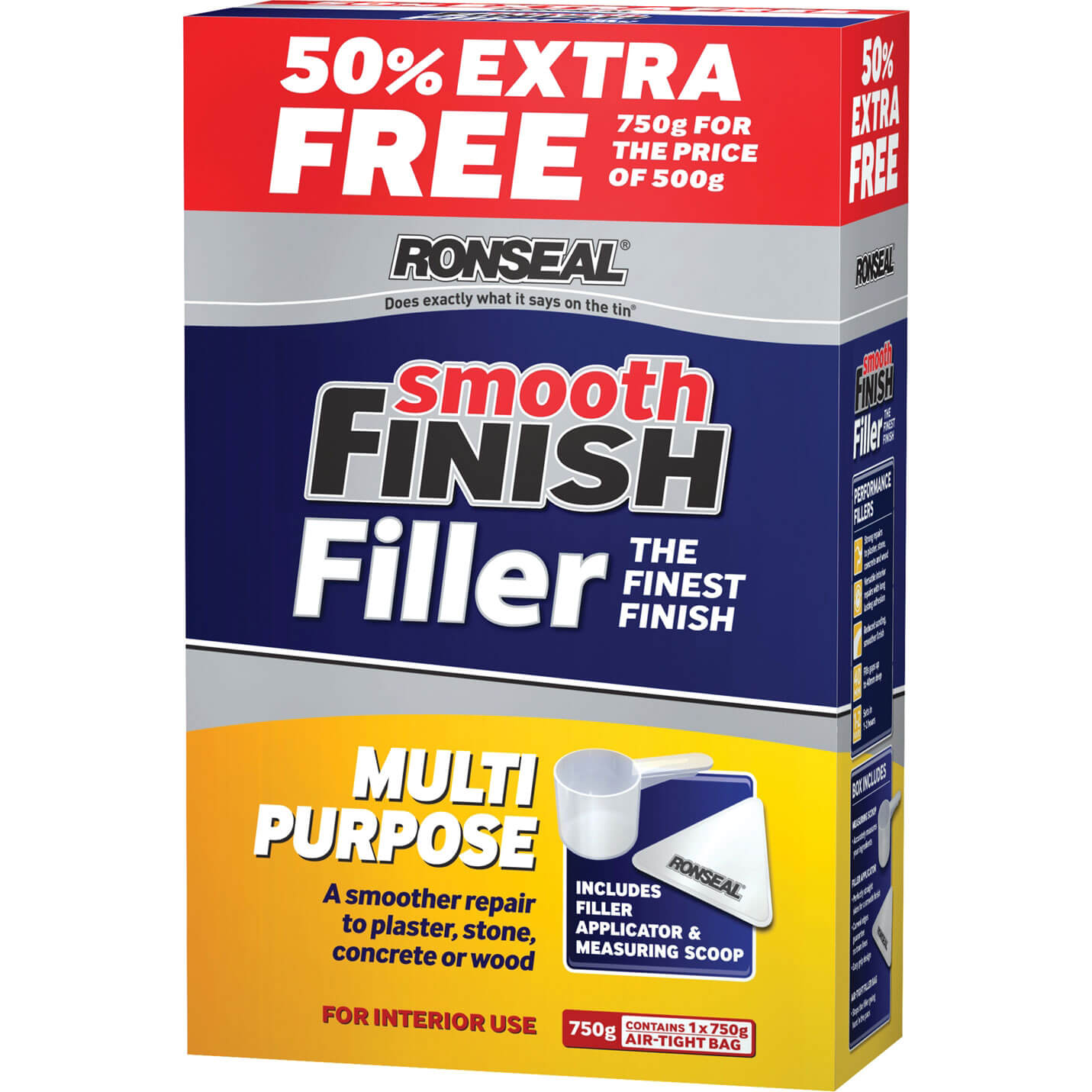 Tooled Up/Sealants & Adhesives/Fillers/Ronseal Smooth Finish Multi Purpose Interior Wall Powder Filler 500g + 50% Extra