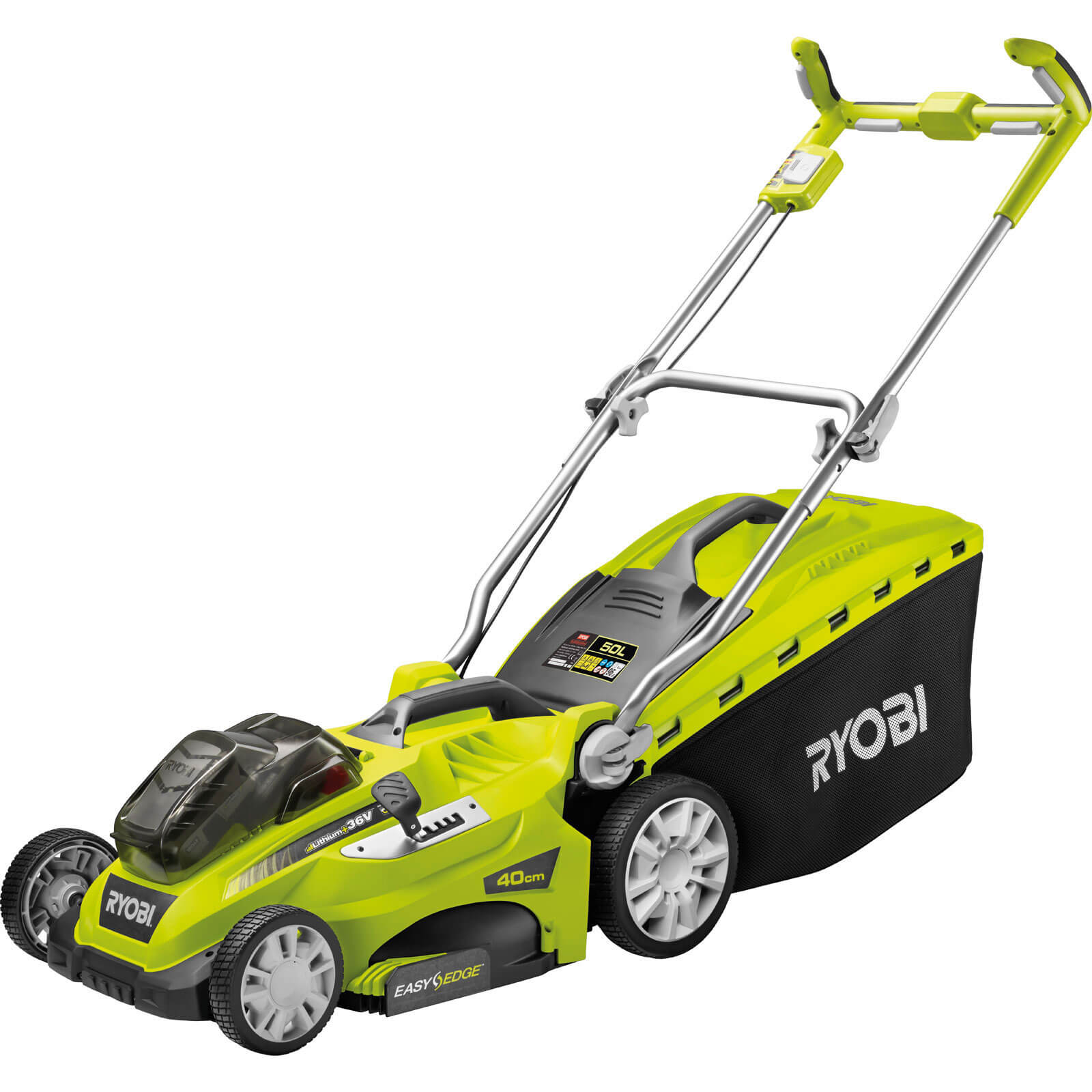 Ryobi RLM18X40H240 ONE+ 36v Cordless Lithium Fusion Lawn Mower 400mm Cut Width with 2 Lithium Ion Batteries 4.0ah
