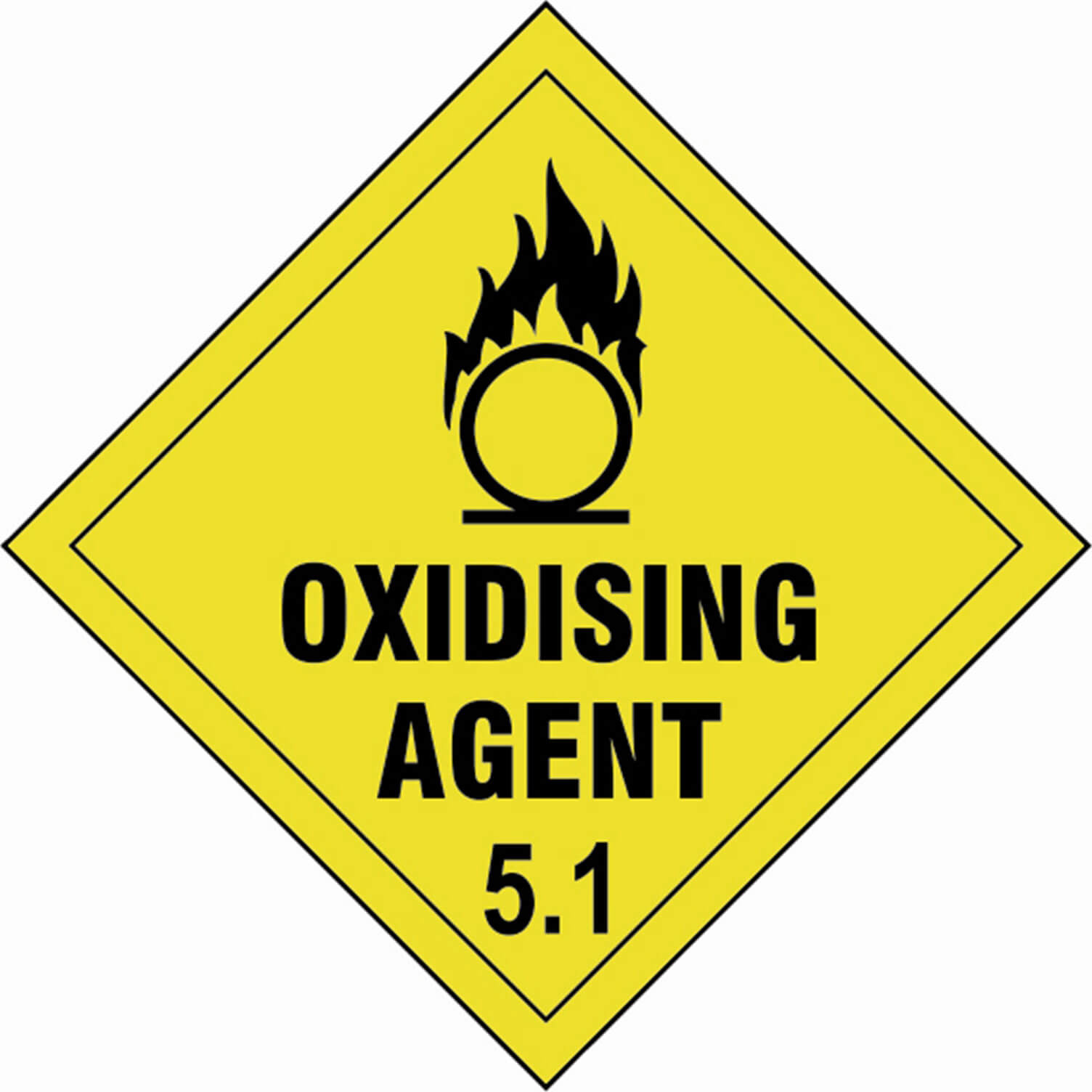 Tooled Up/Safety & Workwear/Safety/Scan 100 x 100mm SAV Diamond Sign - Oxidising Agent 5.1
