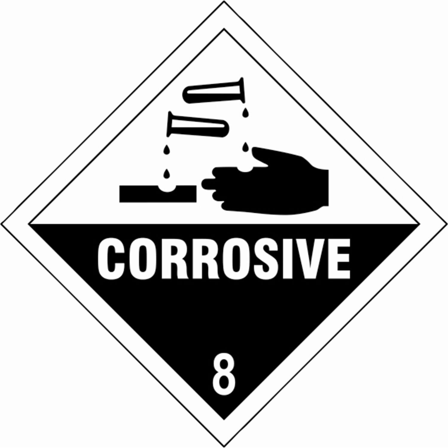 Tooled Up/Safety & Workwear/Safety/Scan 100 x 100mm SAV Diamond Sign - Corrosive 8