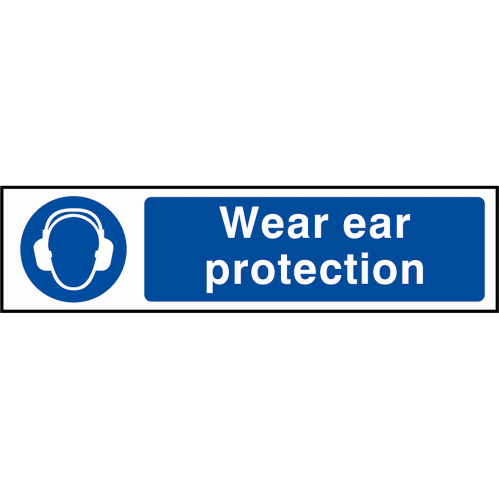Tooled Up/Safety & Workwear/Safety/Scan 200 x 50mm PVC Sign - Wear Ear Protection