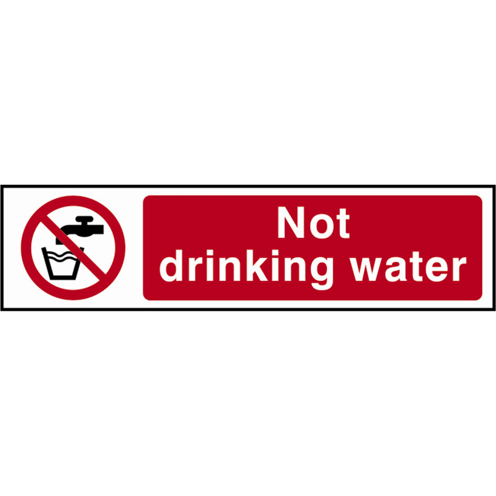 Tooled Up/Safety & Workwear/Safety/Scan 200 x 50mm PVC Sign - Not Drinking Water