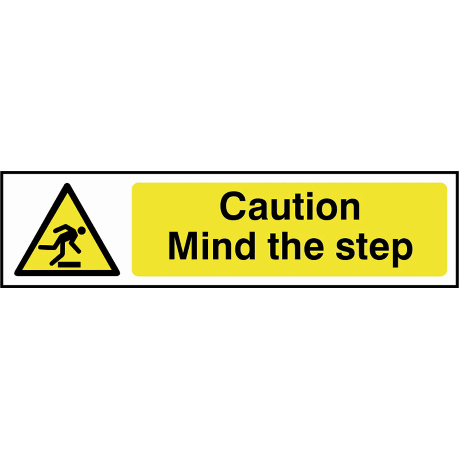 Tooled Up/Safety & Workwear/Safety/Scan 200 x 50mm PVC Sign - Caution Mind The Step