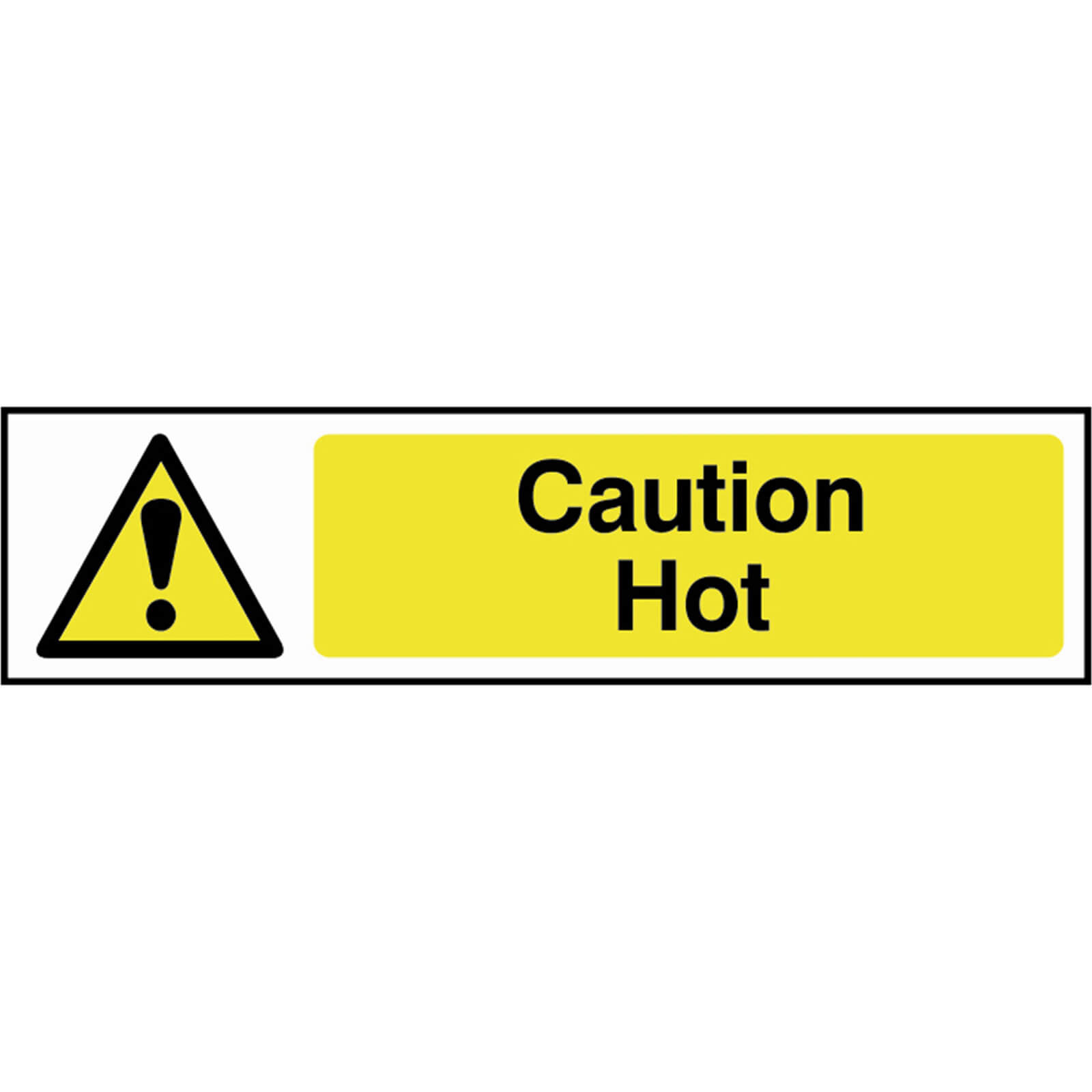 Tooled Up/Safety & Workwear/Safety/Scan 200 x 50mm PVC Sign - Caution Hot