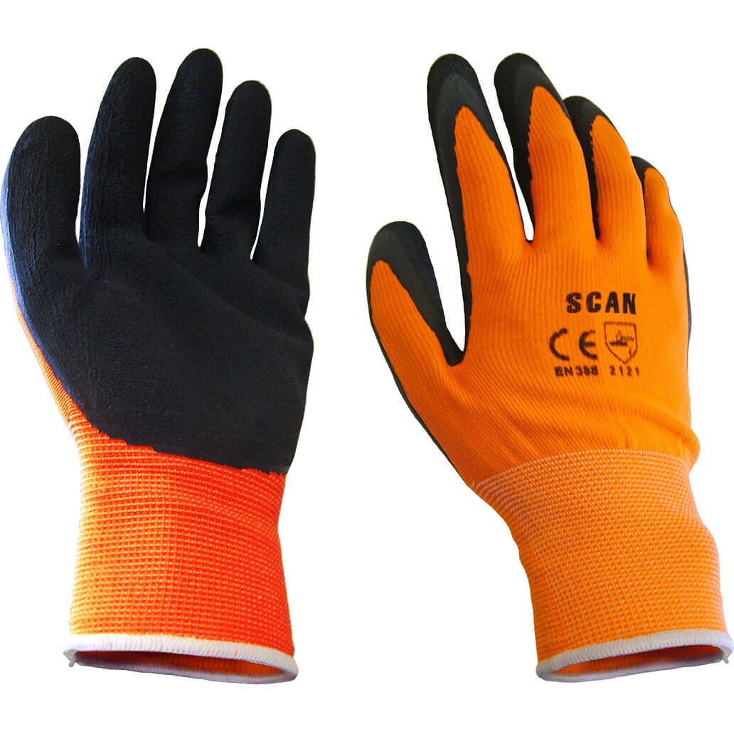 Tooled Up/Safety & Workwear/PPE/Scan Foam Latex Coated Gloves Orange / Black Large