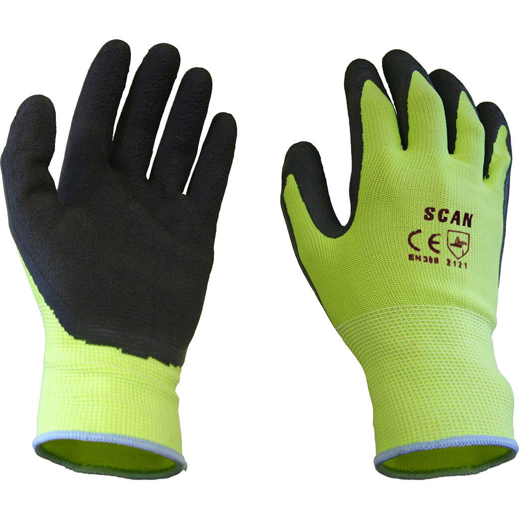 Tooled Up/Safety & Workwear/PPE/Scan Foam Latex Coated Gloves Yellow Large