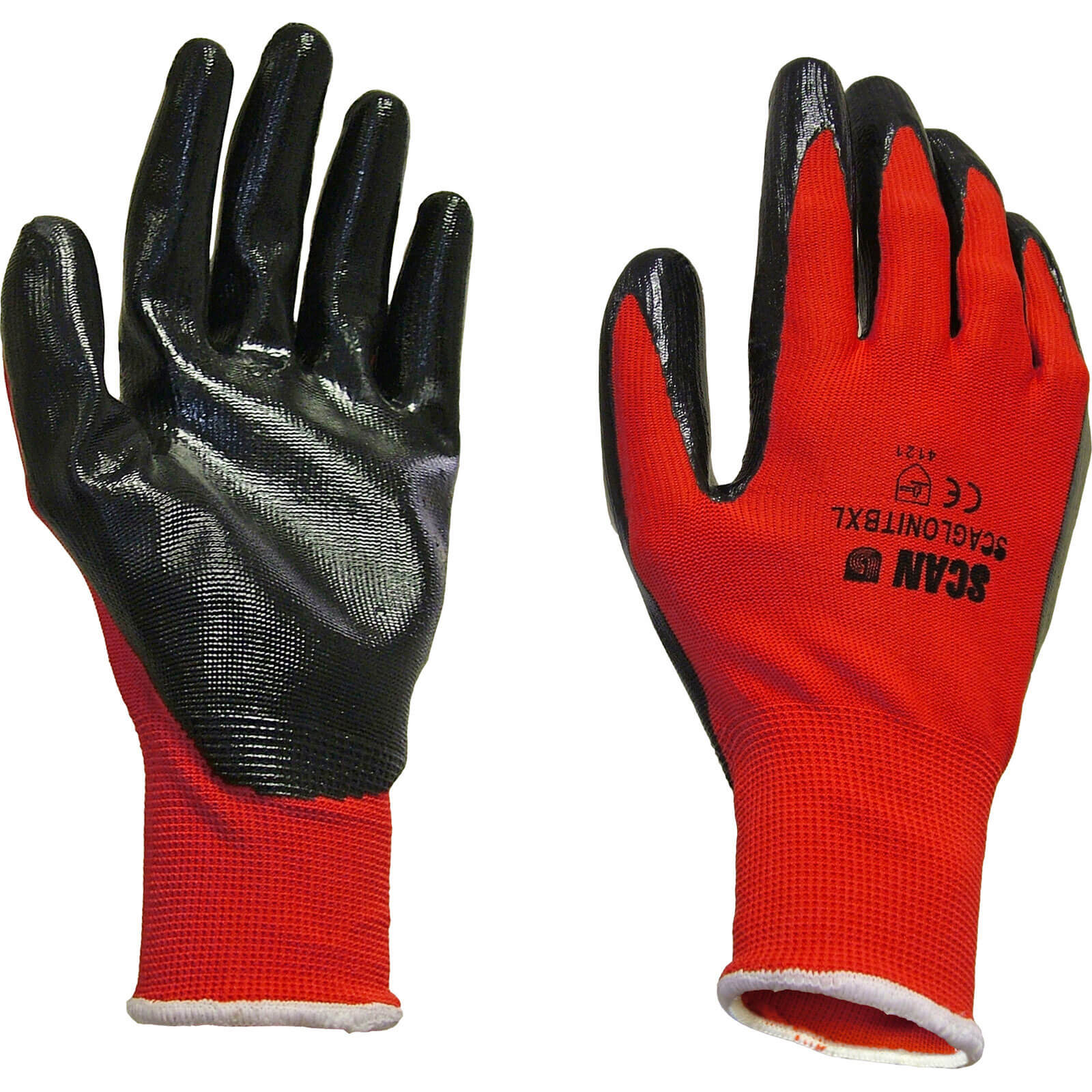 Tooled Up/Safety & Workwear/PPE/Scan Palm Dipped Nitrile Gloves Red / Black Large