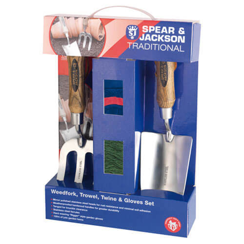 Spear & Jackson Traditional Stainless Steel 2 Piece Hand Trowel & Weedfork Set with Twine & Gloves